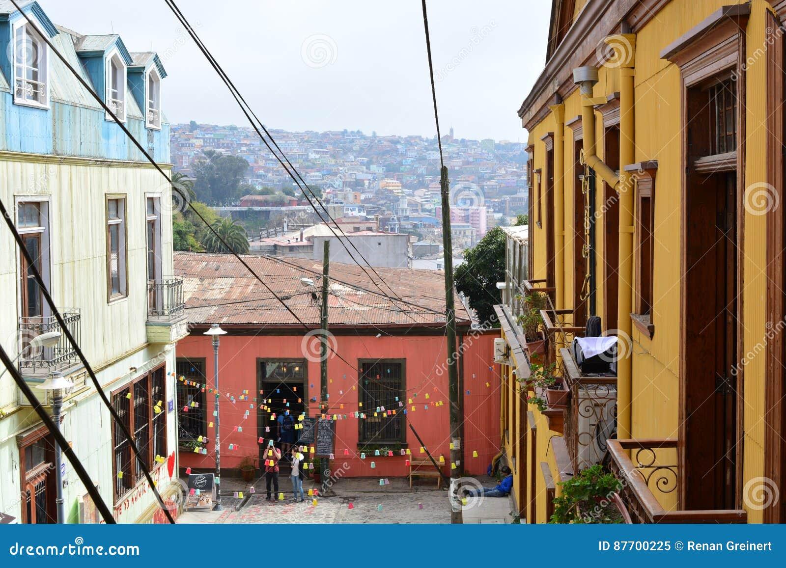 Rue colorée à Valparaiso, Chili