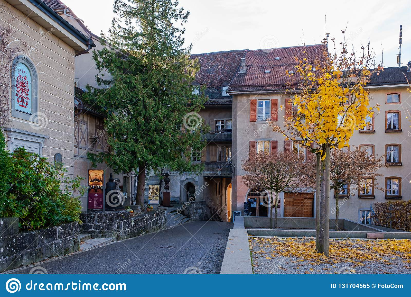 Old medieval road to the castle in Gruyeres, Switzerland in autumn.