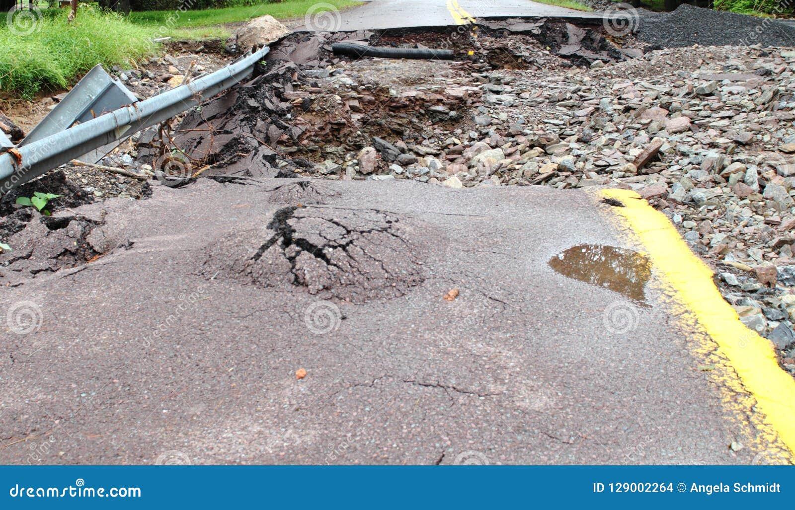 Rue de dégâts des eaux de tempête