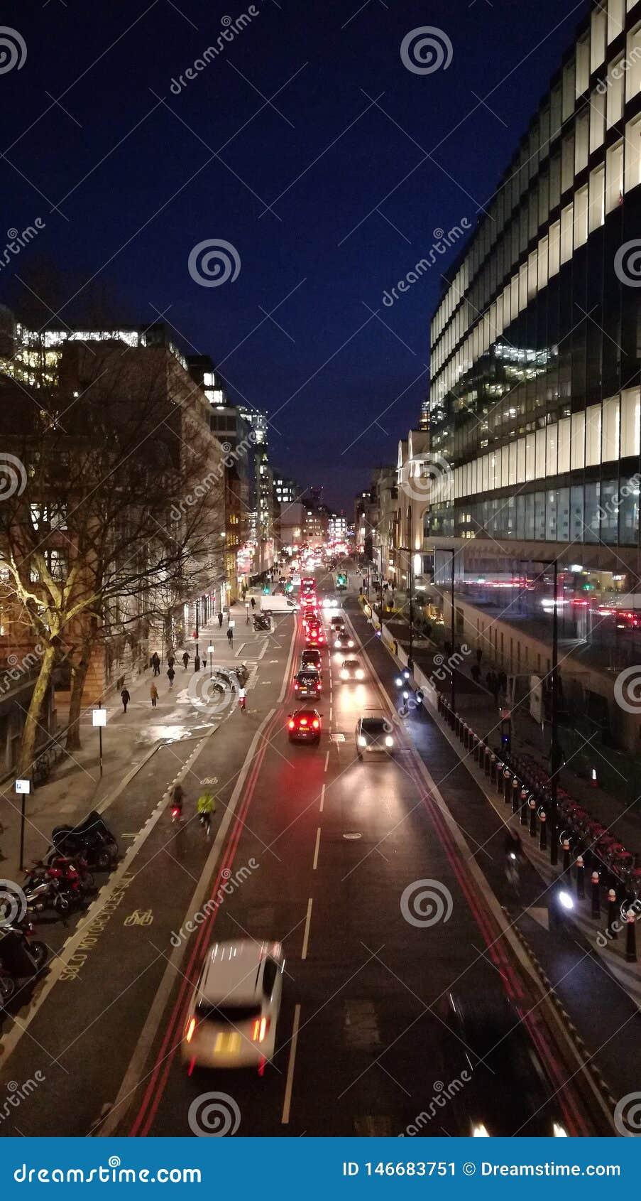 Rue de Farringdon à Londres, hiver 2019