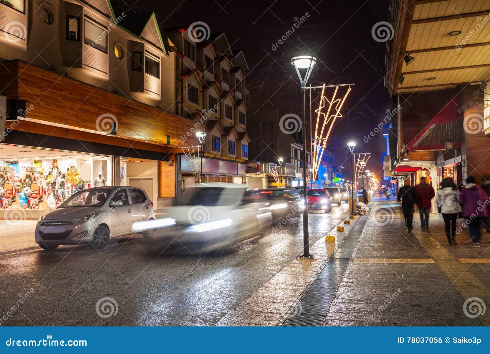 Rue de nuit dans Ushuaia