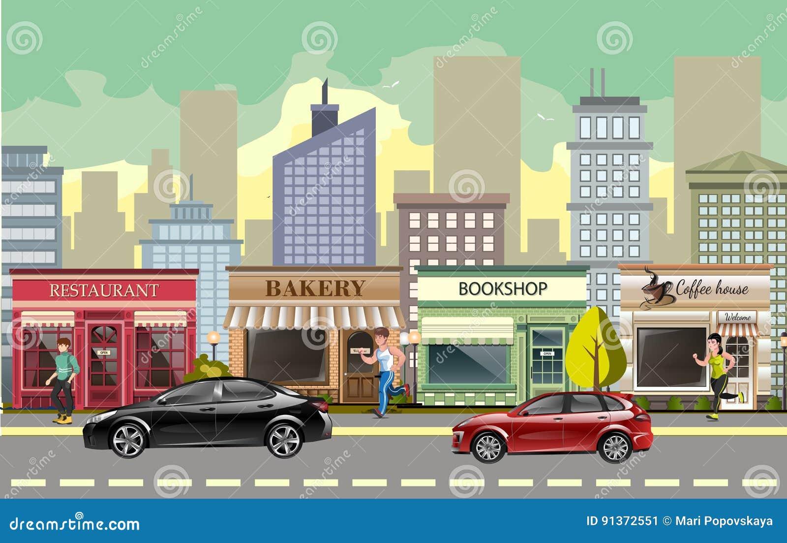 Rue de paysage avec des voitures