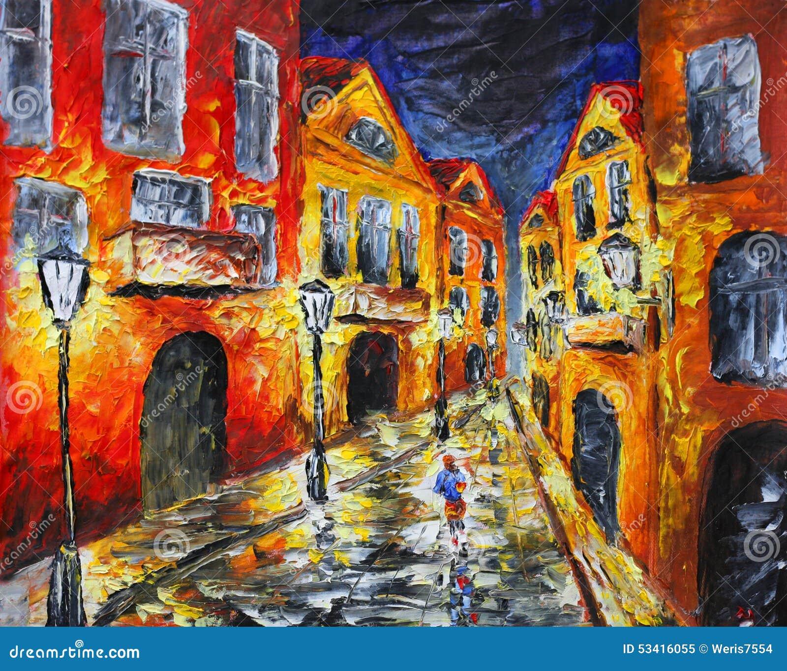 Rue pluvieuse isol e de nuit peinture l 39 huile initiale sur la toile ill - Peinture a l huile achat ...