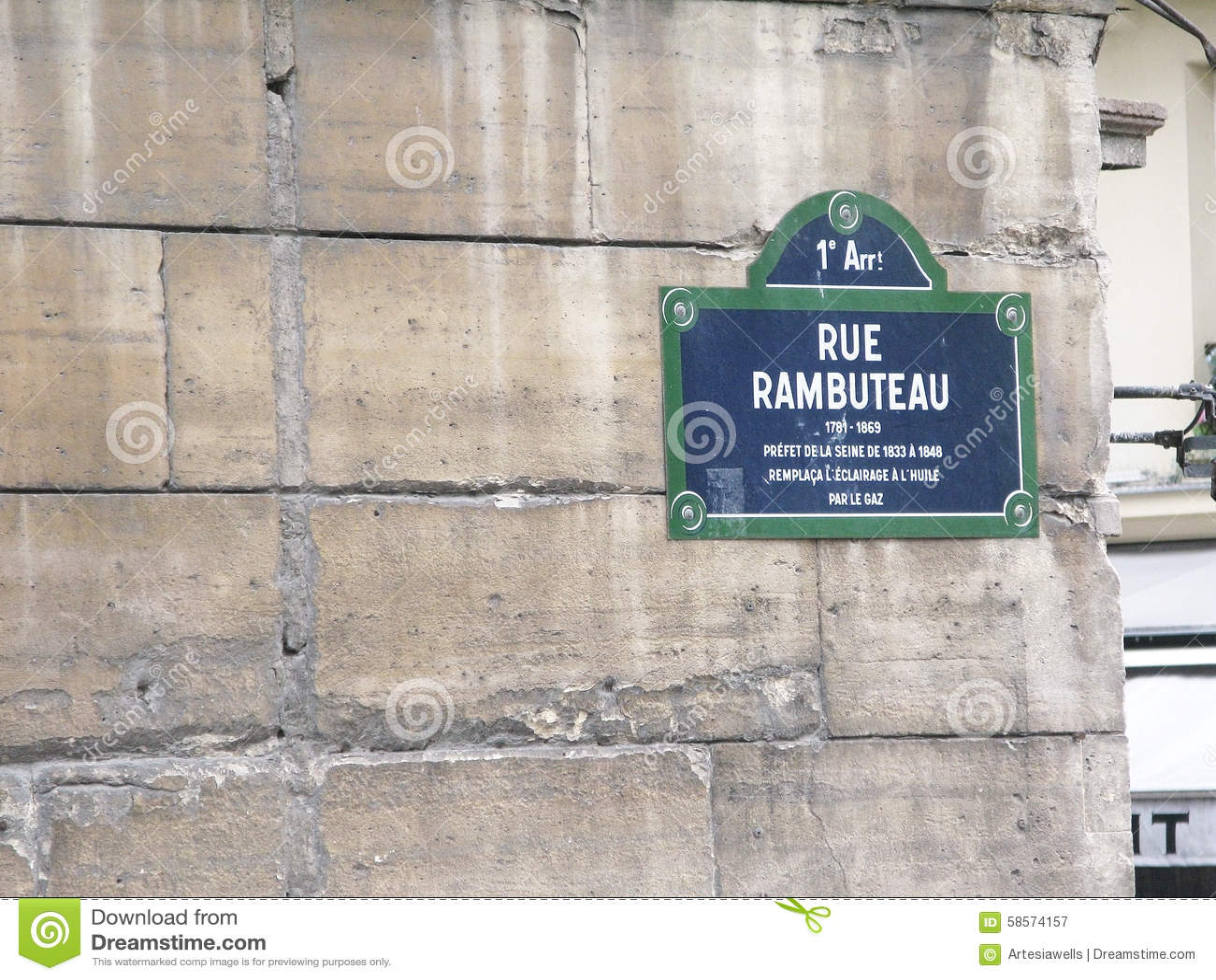 Rue rambuteau street sign editorial photography image 58574157 - Rue rambuteau paris ...