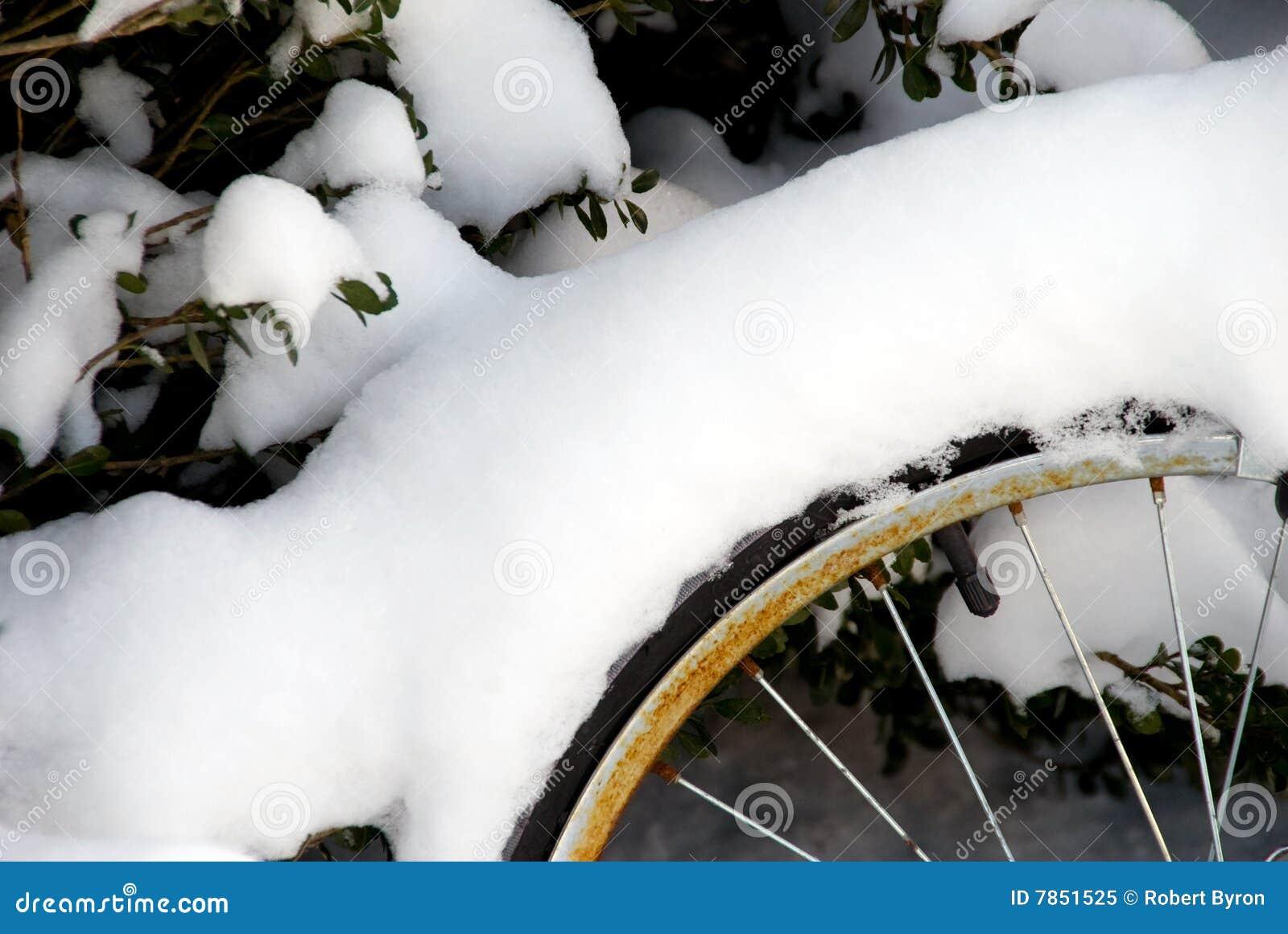 Rueda de bicicleta cubierta en nieve