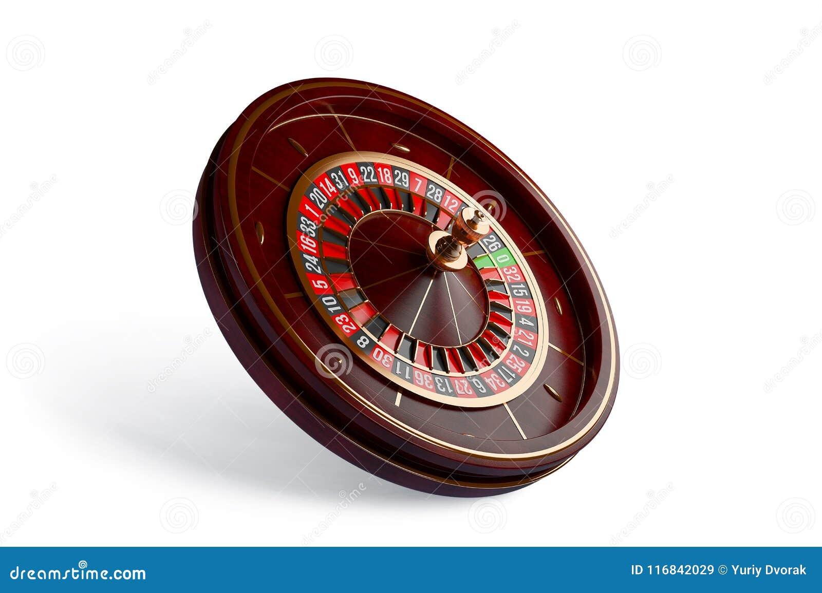 Rueda de ruleta del casino aislada en el fondo blanco ilustración de la representación 3d
