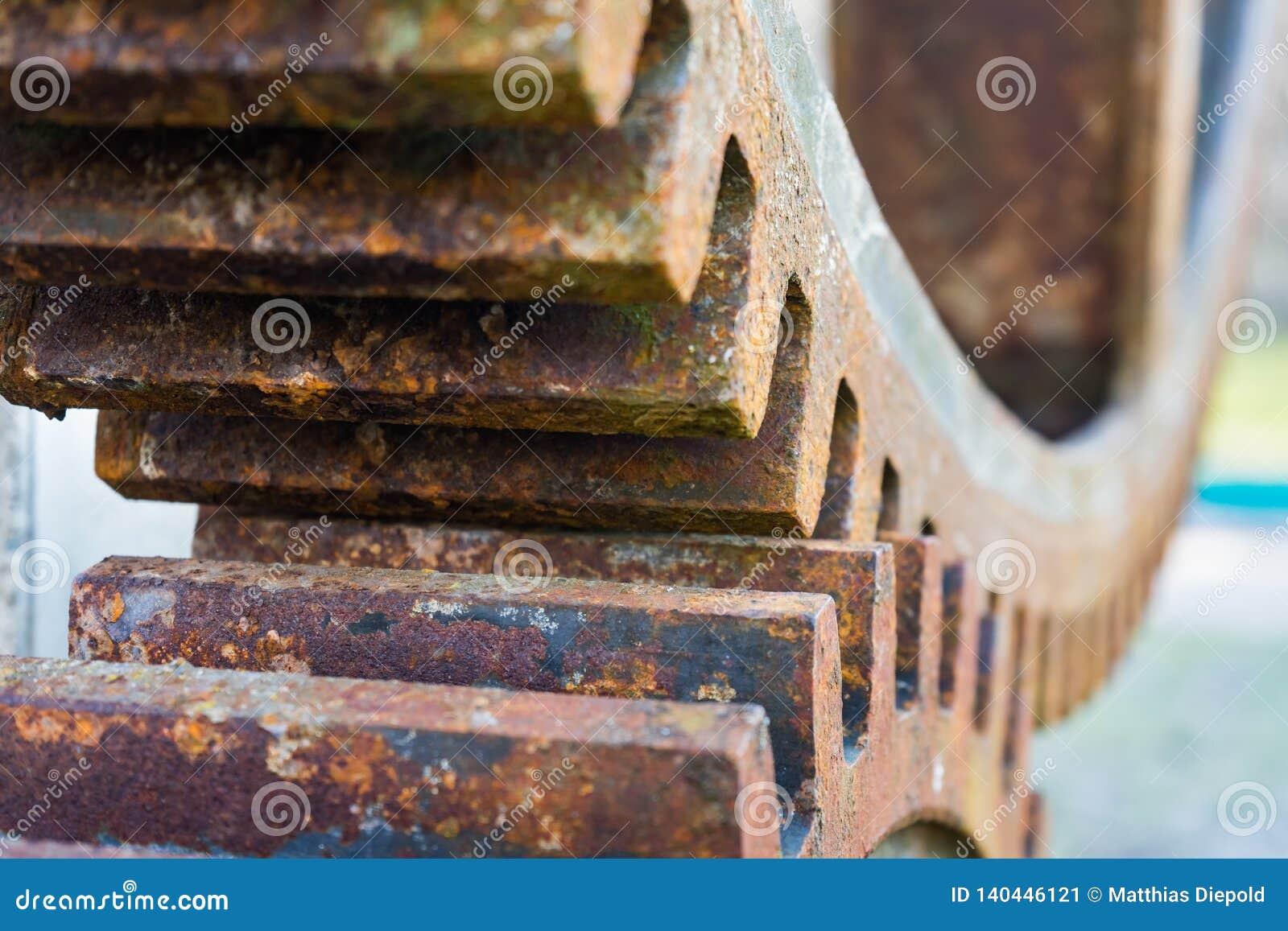 Rueda hidráulica oxidada vieja Detalle de los engranajes