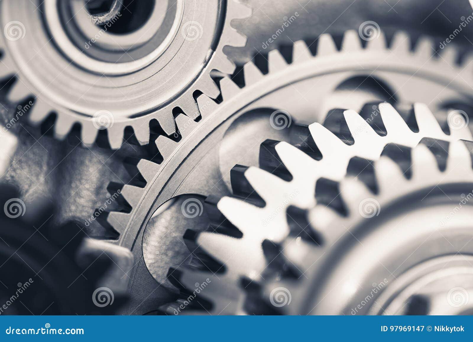 Ruedas de engranaje del motor, fondo industrial