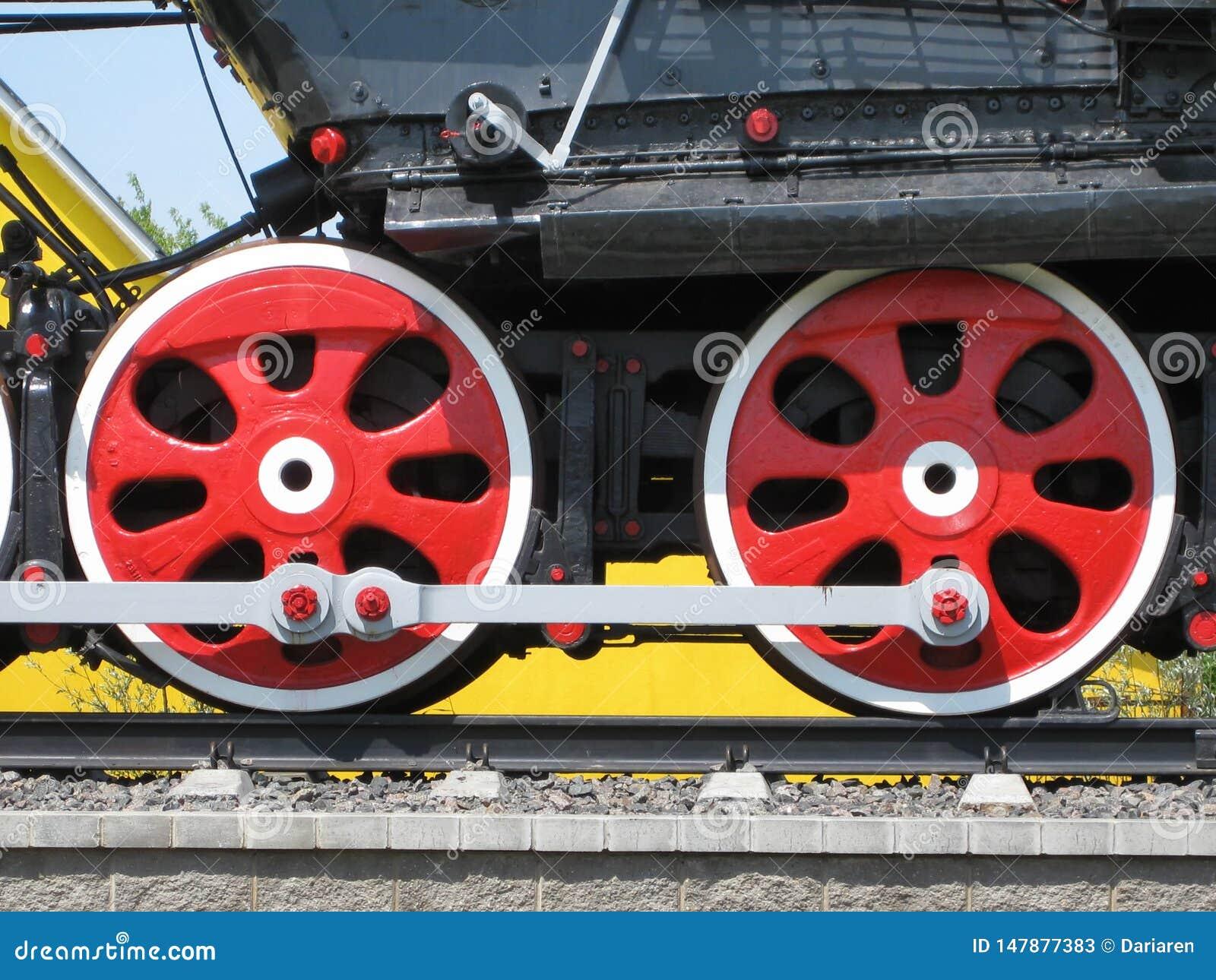 Ruedas del tren retro pasado de moda