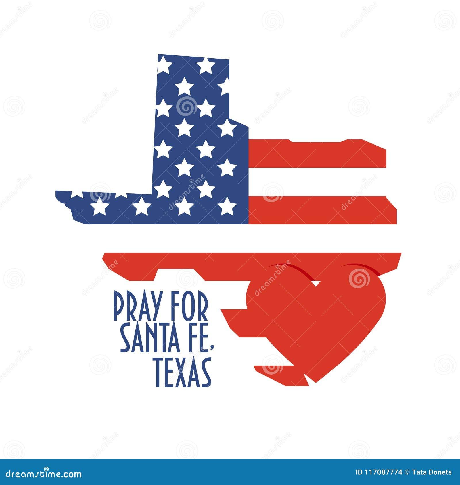 Ruegue para Santa Fe, Texas Vector Illustration Done, alivio o