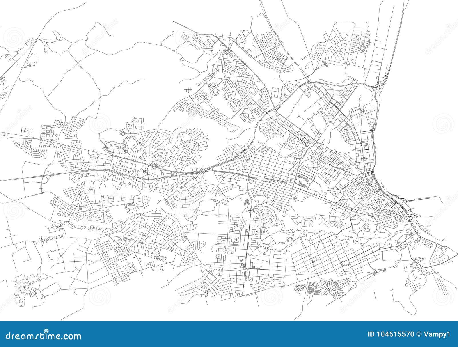 Rues de Port Elizabeth, carte de ville, Afrique du Sud