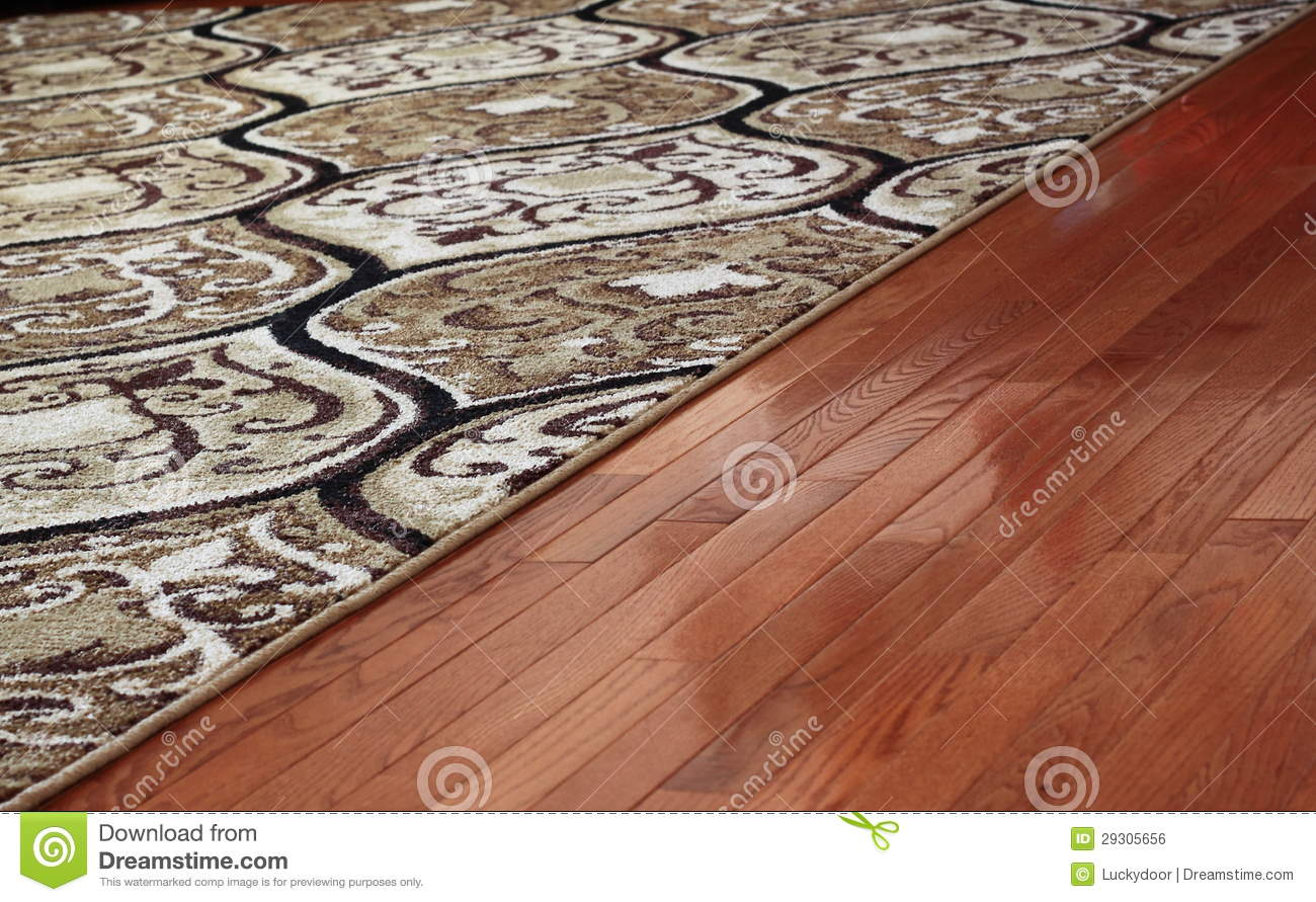 Rug Cover Hardwood Floor Royalty Free Stock Image