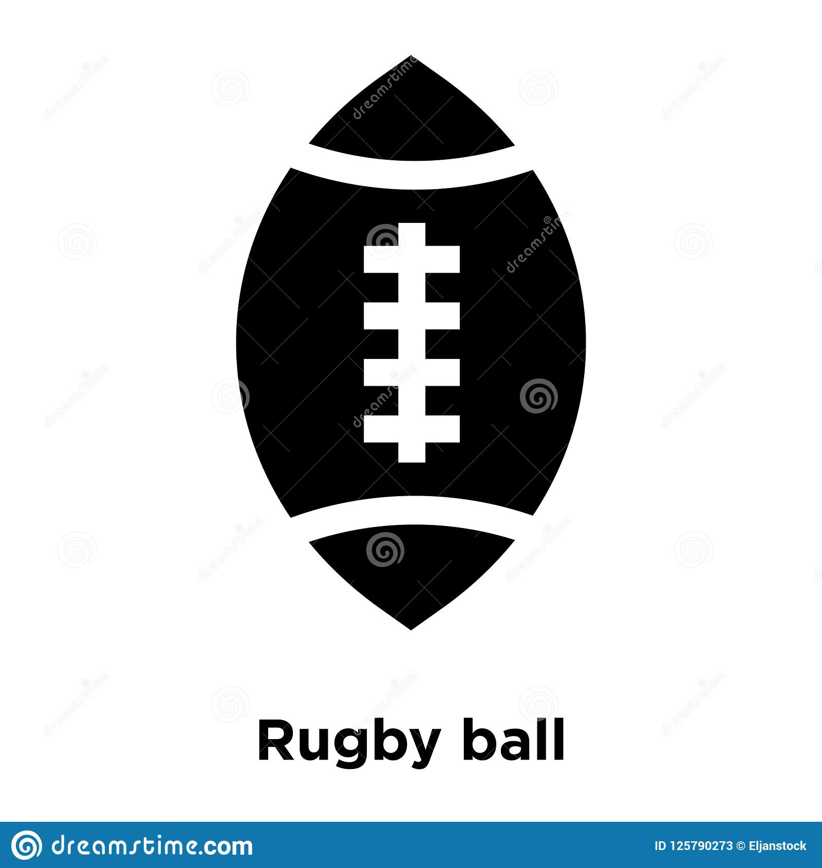 Rugby ball icon vector isolated on white background, logo concept of Rugby ball sign on transparent background, black filled