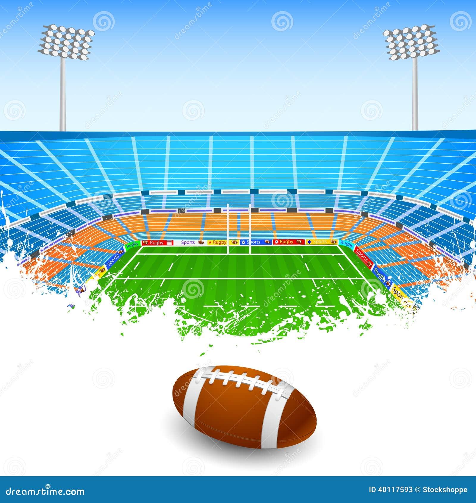 Stadium Lights Svg: Rugby Ball On Stadium Stock Vector. Illustration Of