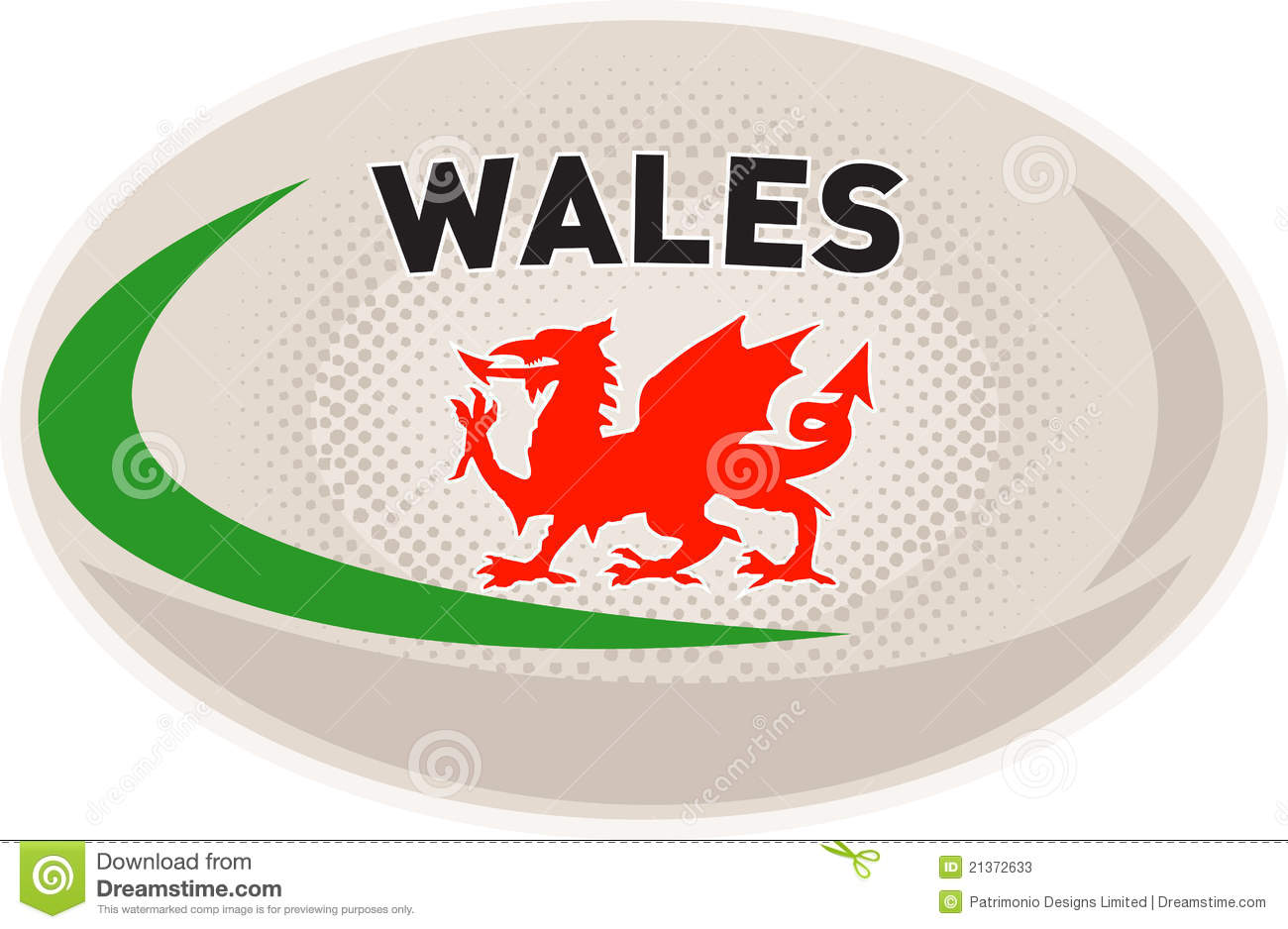 Rugby Ball With Welsh Dragon Illustration 21372633 Megapixl