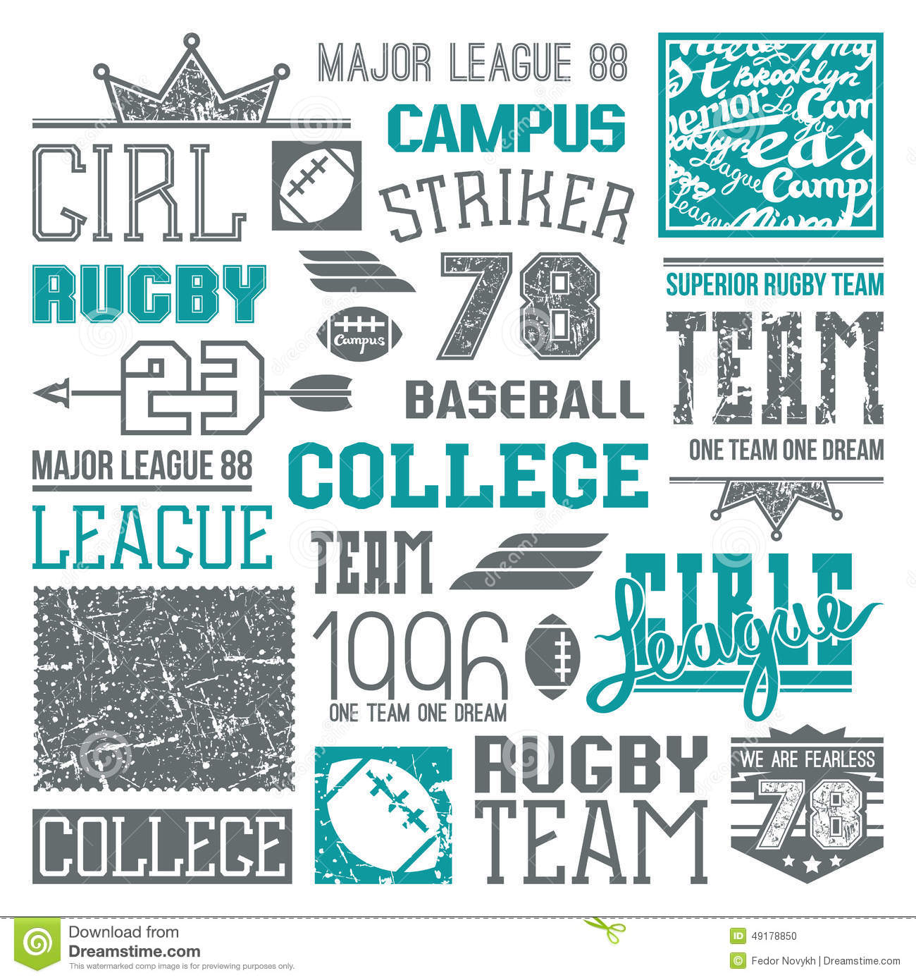 Shirt design elements - Rugby And Baseball Team College Design Elements