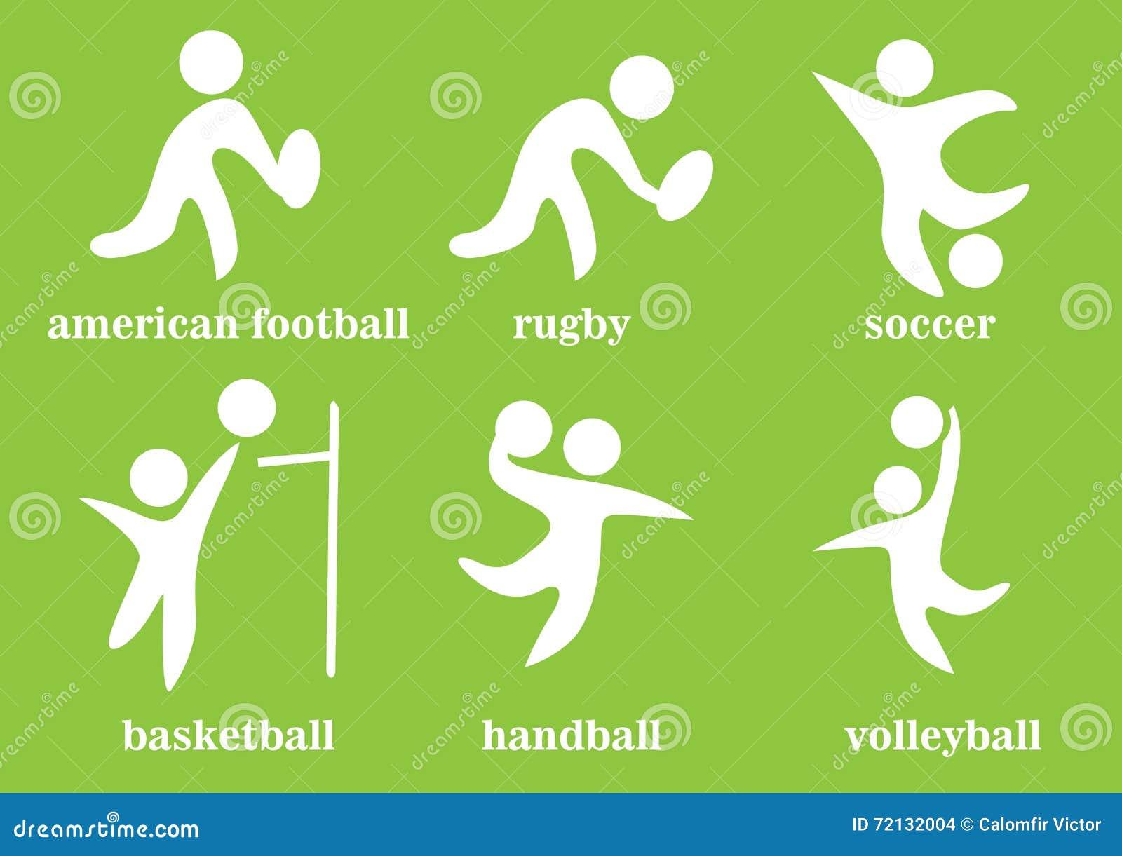 Rugby, futebol, handball, voleyball, futebol americano, basquetebol, ícone do esporte de equipe