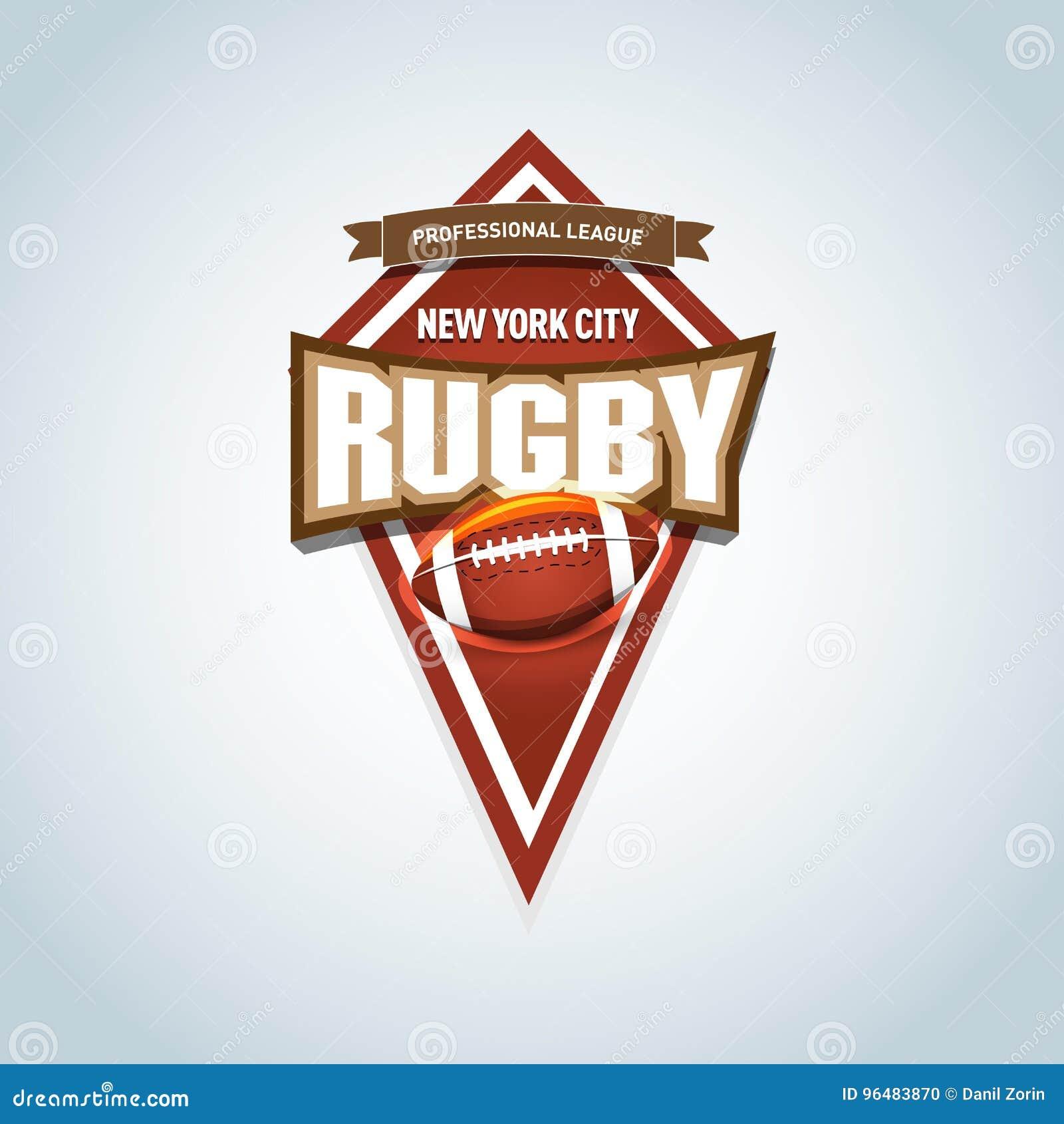 Rugby logo, Amerykański loga sport Wektorowego rugby ligowy logo z piłką Sport odznaka dla turnieju liga lub mistrzostwa