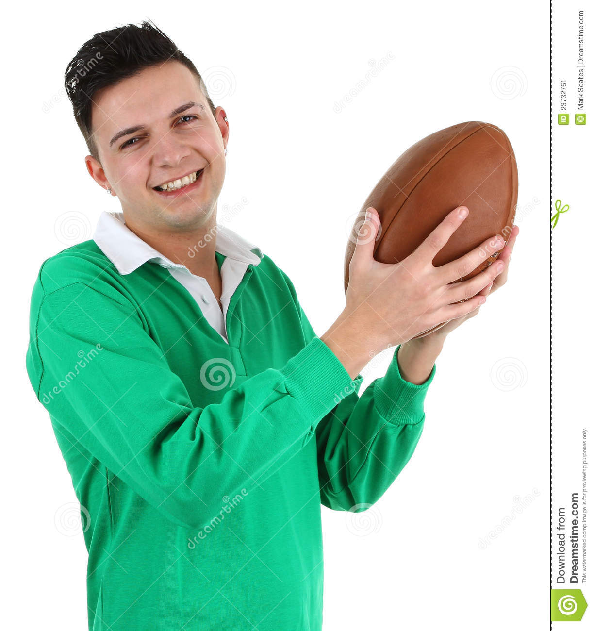 Green Rugby Player: Rugby Player Stock Image