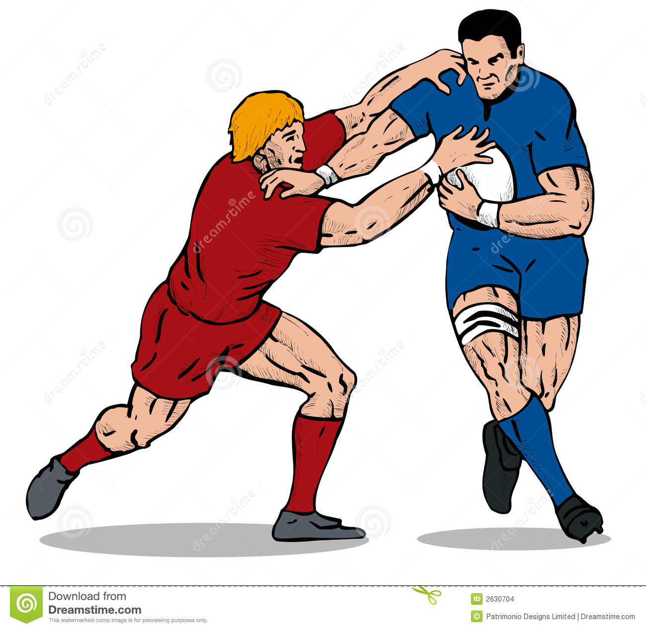 Rugby Player Being Tackled 2 Stock Illustration ...
