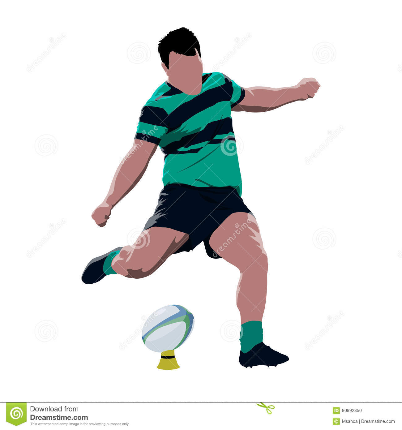Green Rugby Player: Rugby Player Kicking Ball Stock Vector. Image Of Green