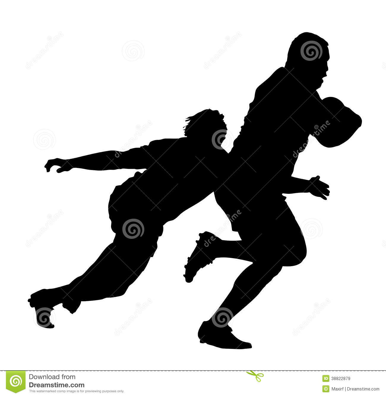 Rugby Player Tackling Runner With Ball Stock Vector