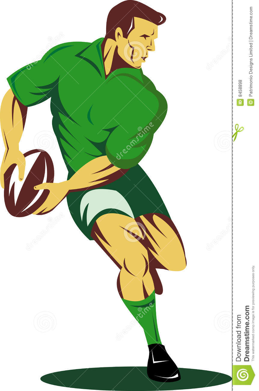 rugby player about to pass ball stock vector football player clipart black and white football player clipart images