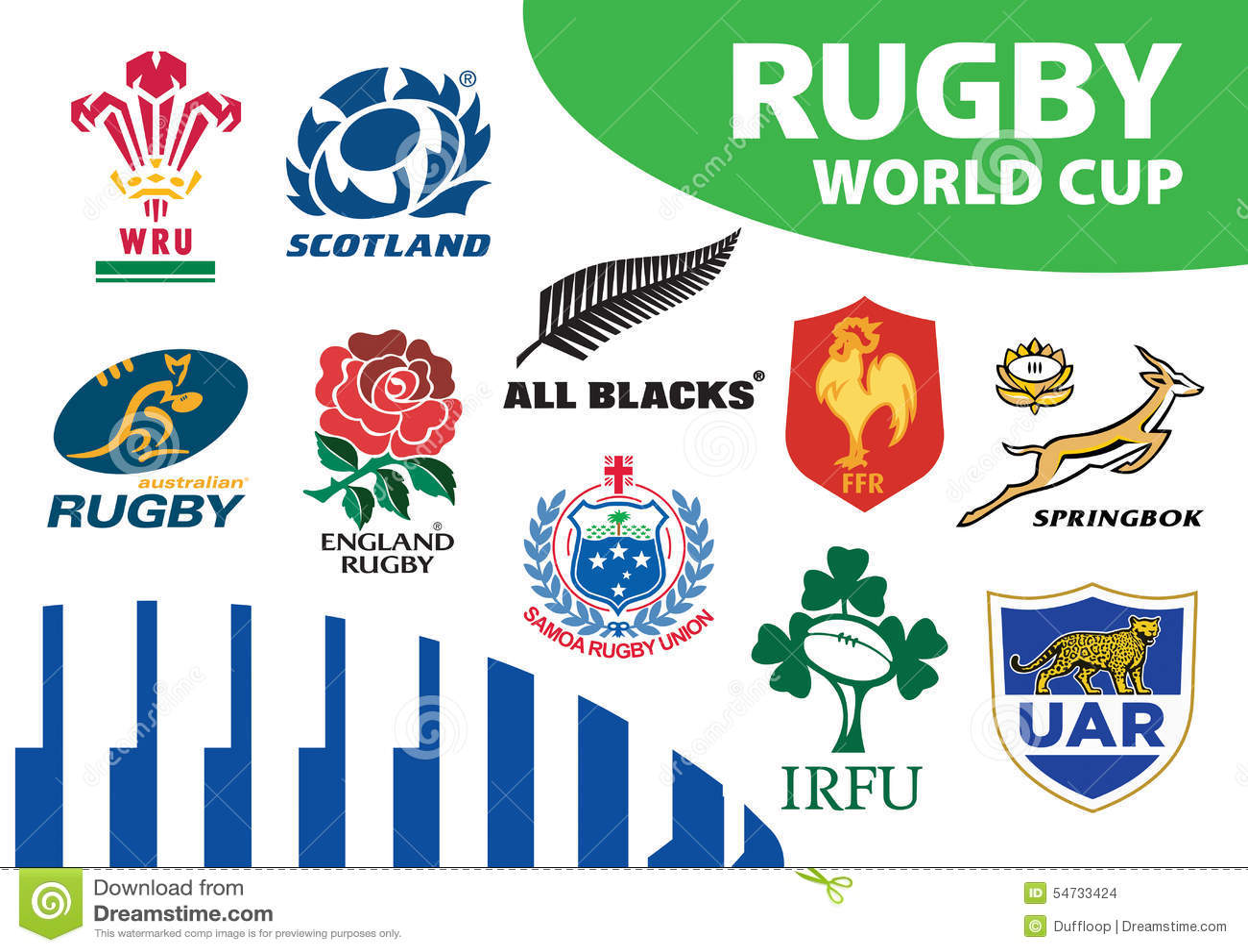 Rugby-Verbands-Weltcup Team Logos