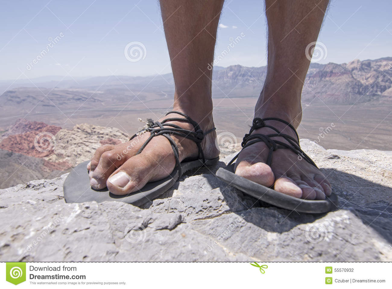 Rugged Feet In Primitive Sandals On Mountain Stock Photo - Image ...