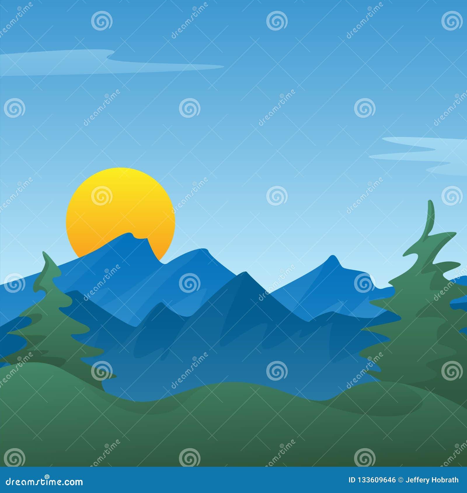 Ruhiger blauer Berglandschaftsszenenhintergrund mit Kiefern, Rolling Hills, steigende oder einstellende Sonne, Vektor Illustratio
