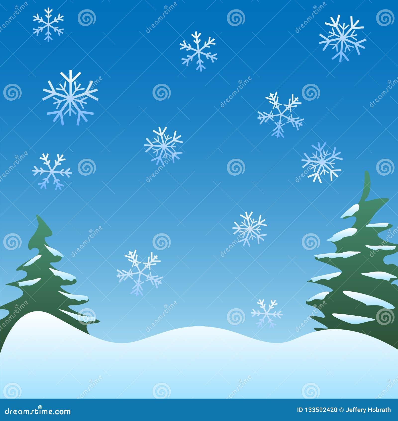 Ruhiger Winterszenenhintergrund mit Kiefern, leichten Schneeflocken und weicher Rolling Hills Vektor Illustration