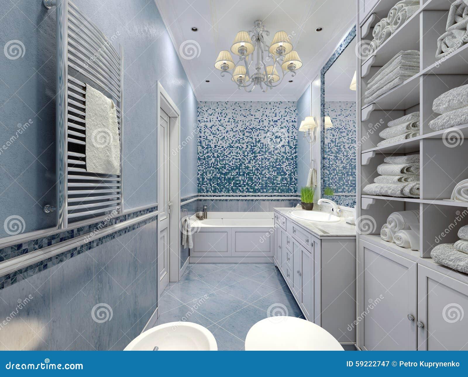 Ruime blauwe badkamers klassieke stijl stock afbeelding