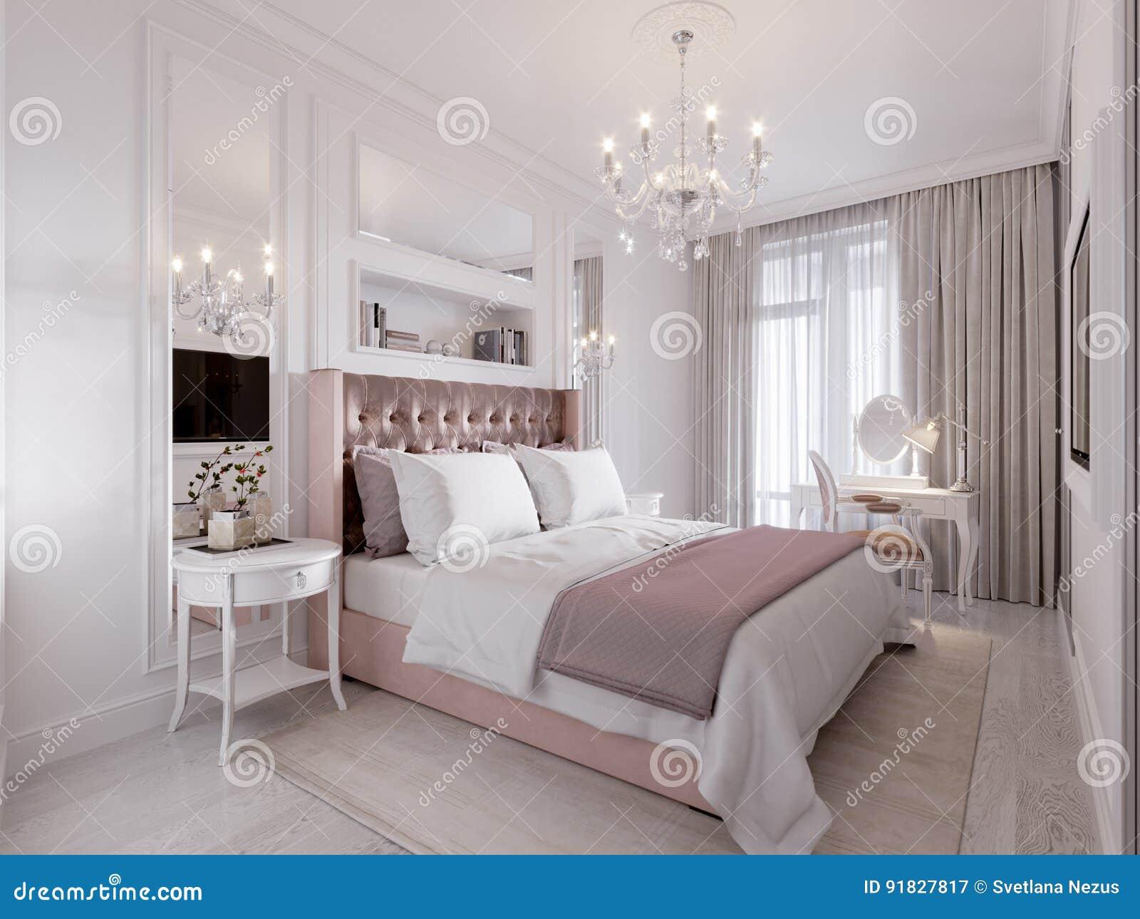 Ruime en heldere moderne eigentijdse klassieke slaapkamer stock