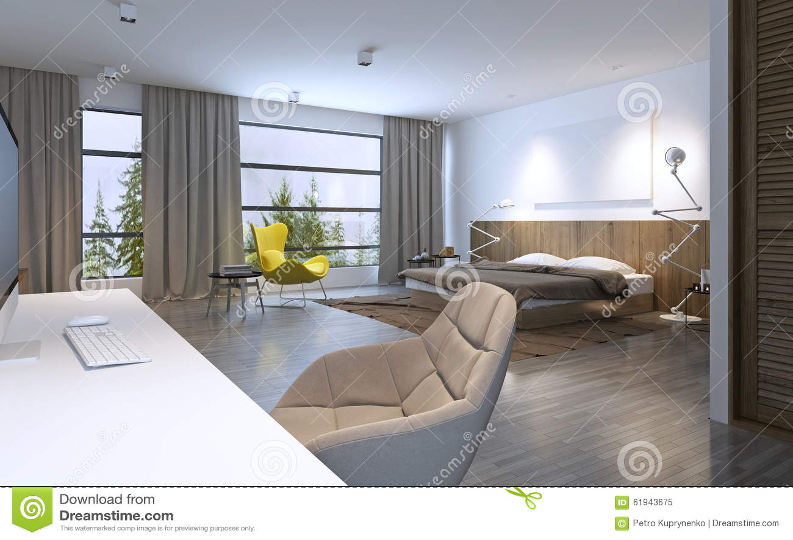 Ruime slaapkamer moderne stijl stock illustratie afbeelding 61943675 - Slaapkamer stijl ...