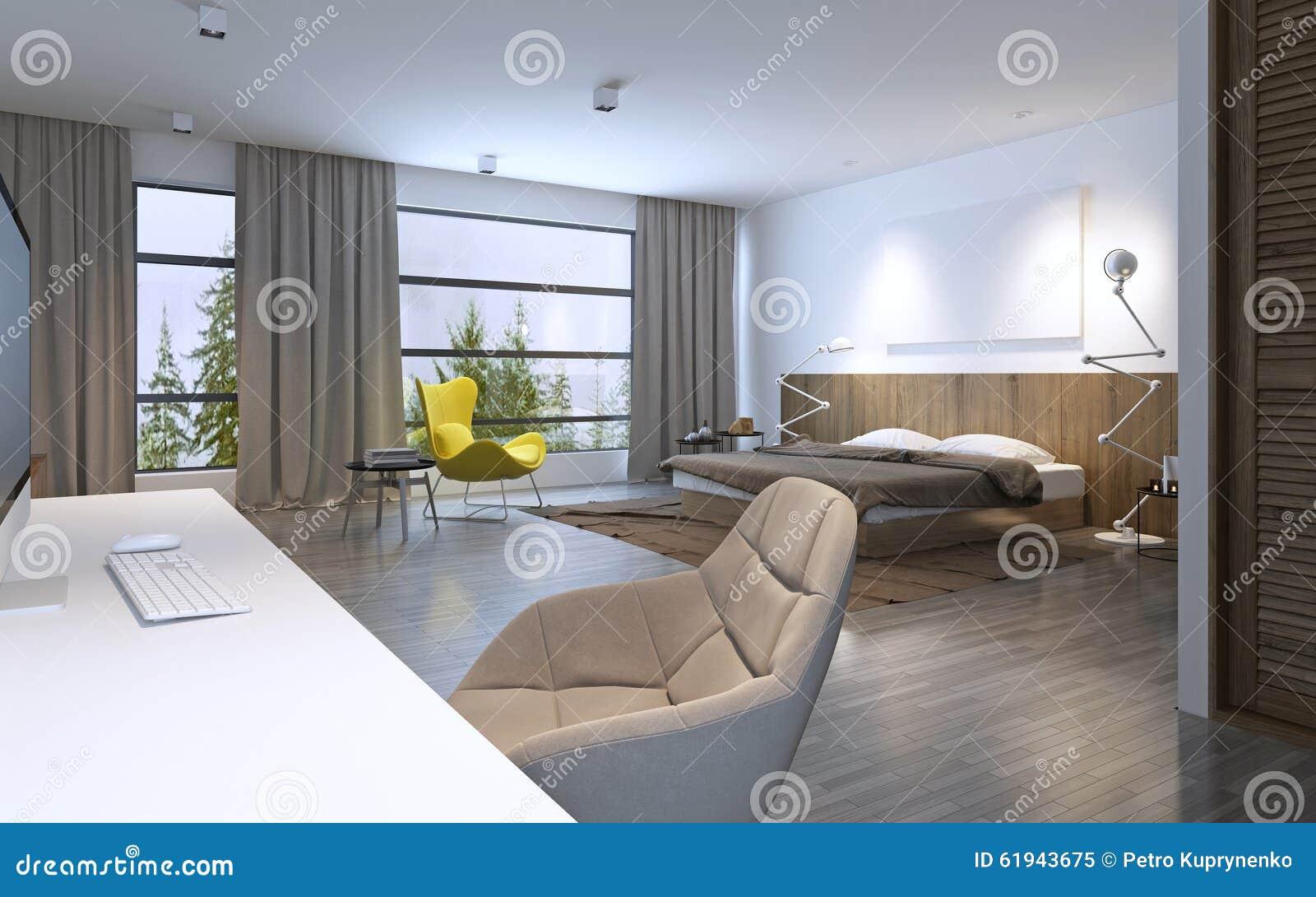 Ruime slaapkamer moderne stijl stock illustratie afbeelding 61943675 - Kamer deco stijl ...