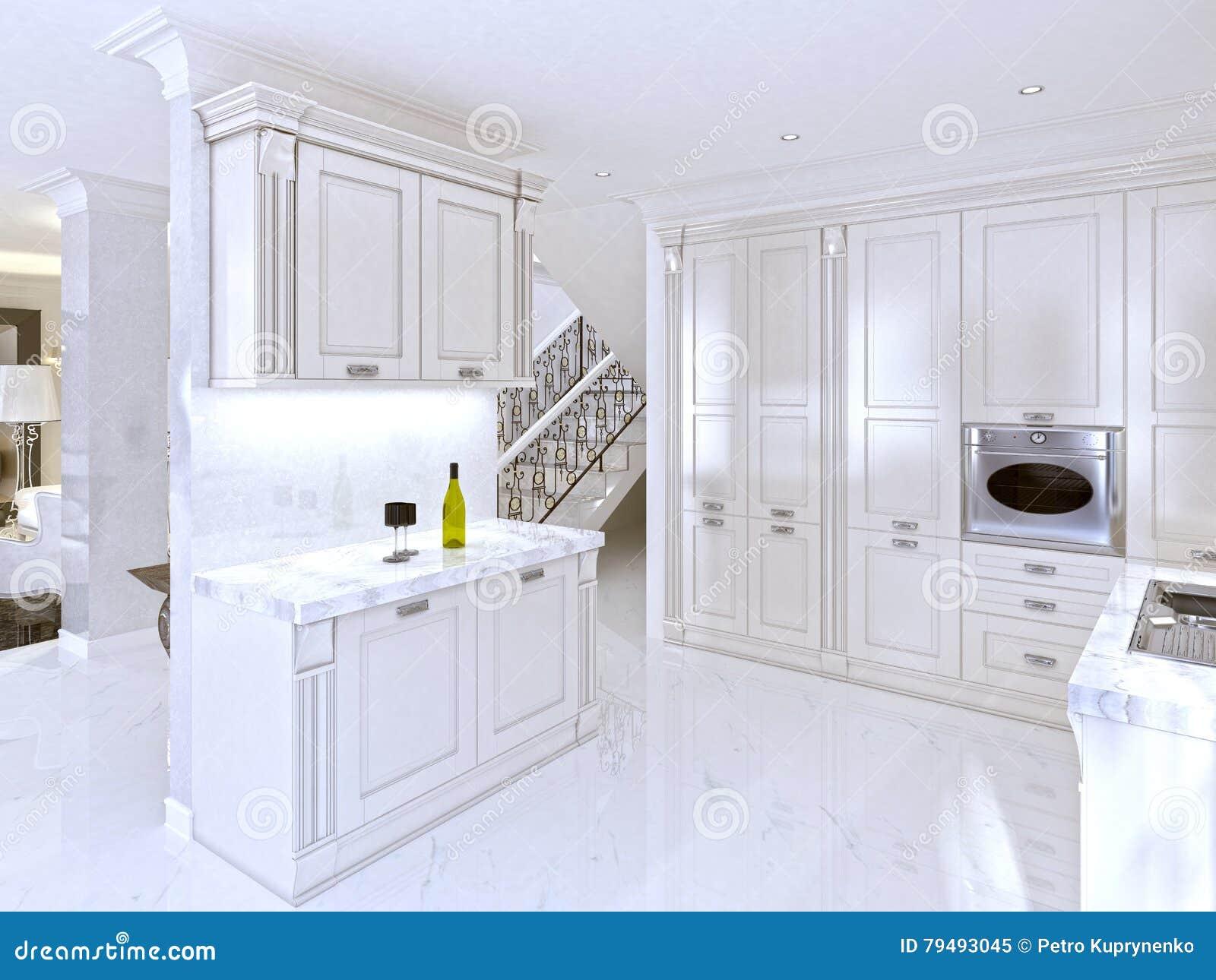 Ruime witte keuken in de art decostijl stock illustratie