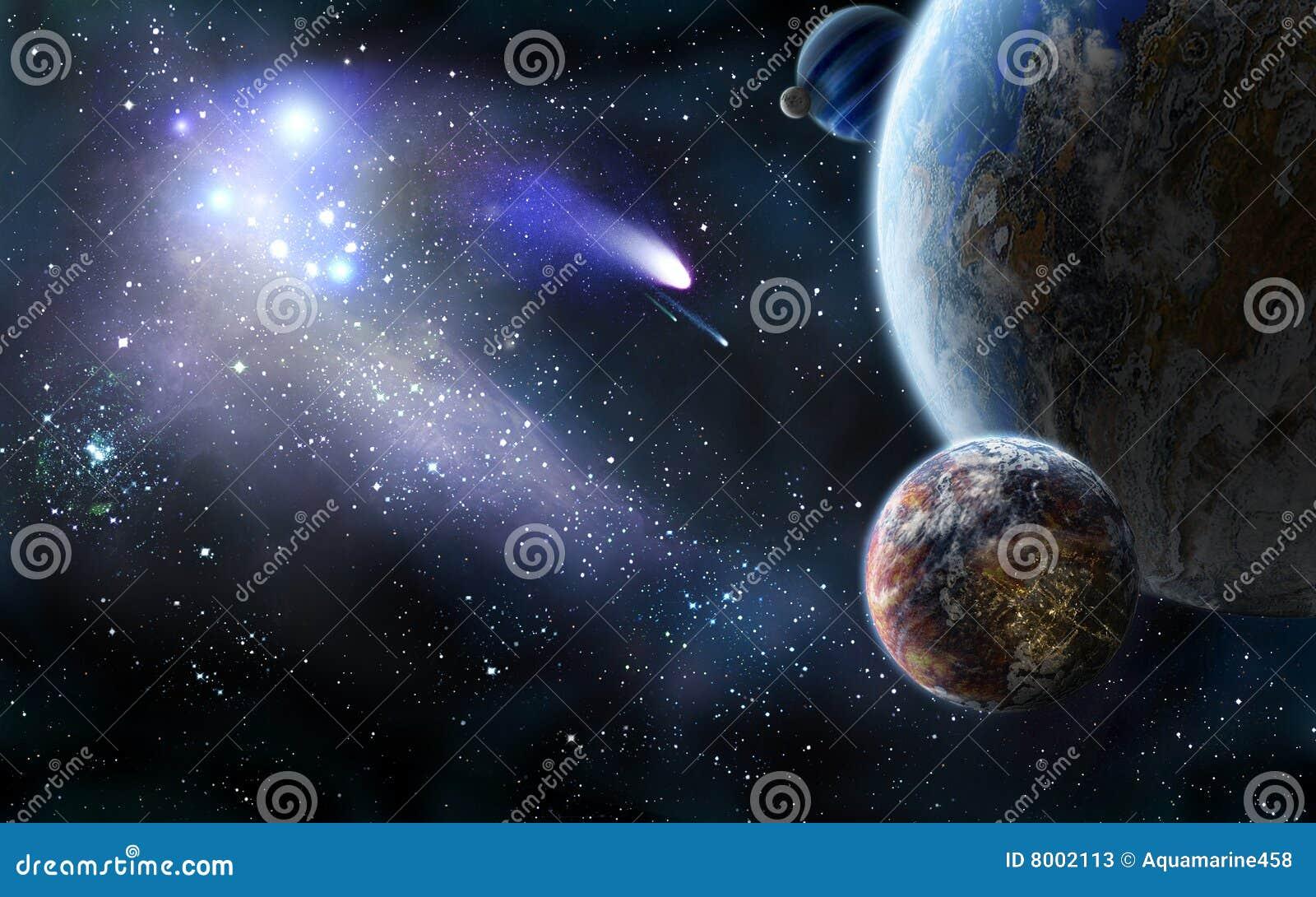 Ruimte aanval van kometen