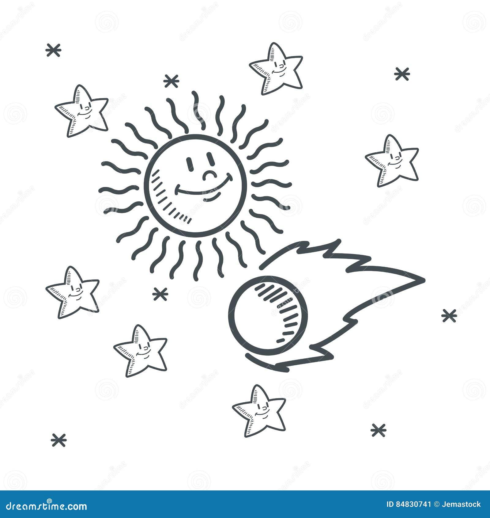 Ruimte de schetsontwerp van de sterren stervormig zon