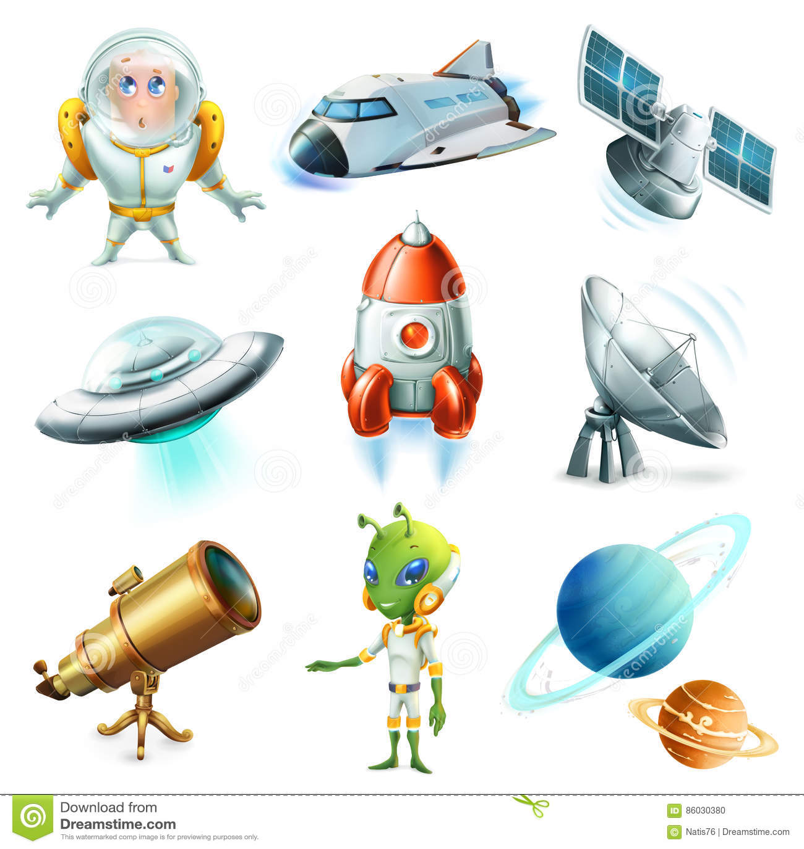 Ruimte, ruimteschip, planeet, ruimtevaarder, ufo en satelliet Drie kleurenpictogrammen op kartonmarkeringen