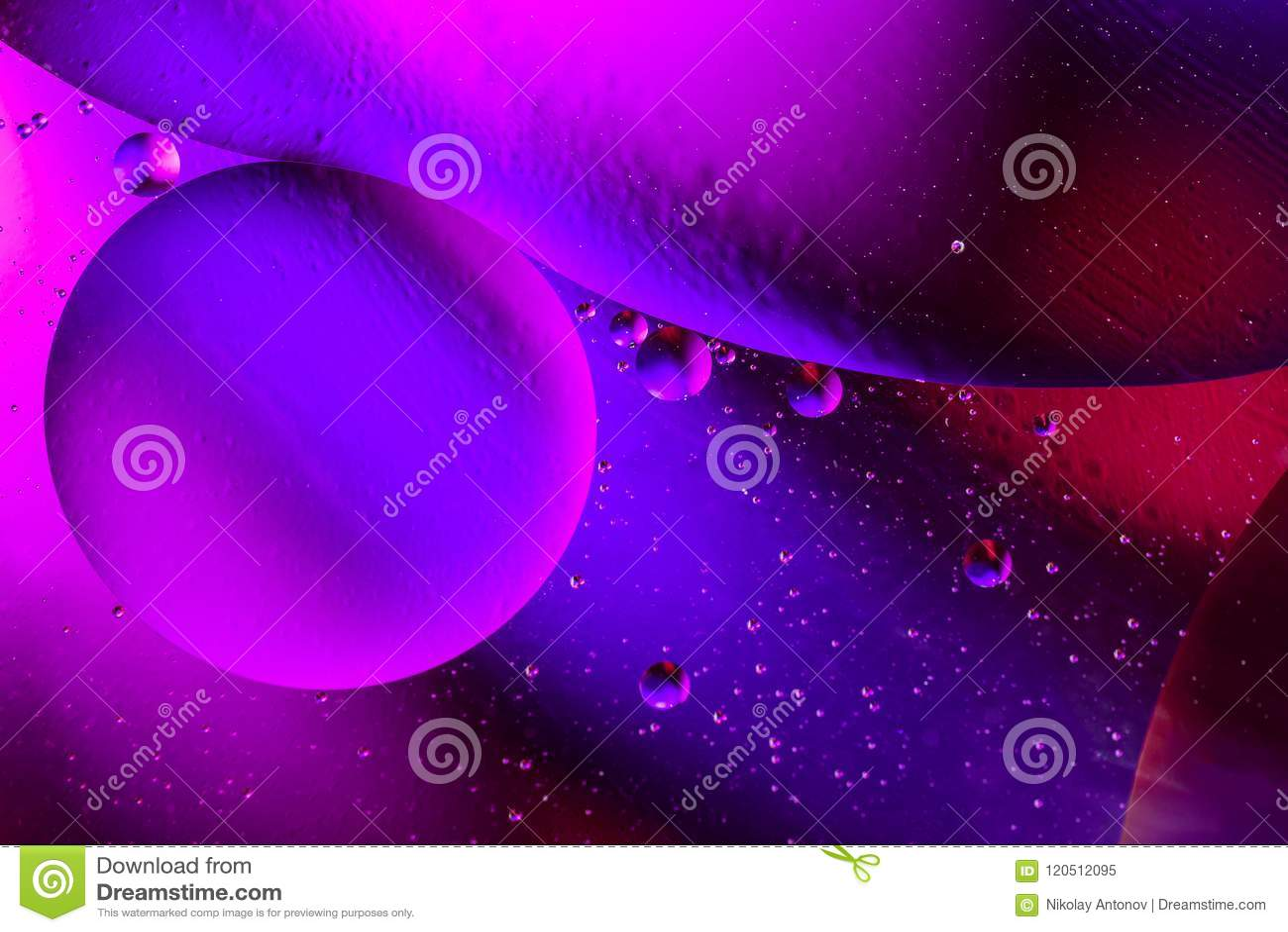 Ruimte of van het planetenheelal kosmische abstracte purpere achtergrond Abstracte sctructure van het moleculeatoom De bellen van
