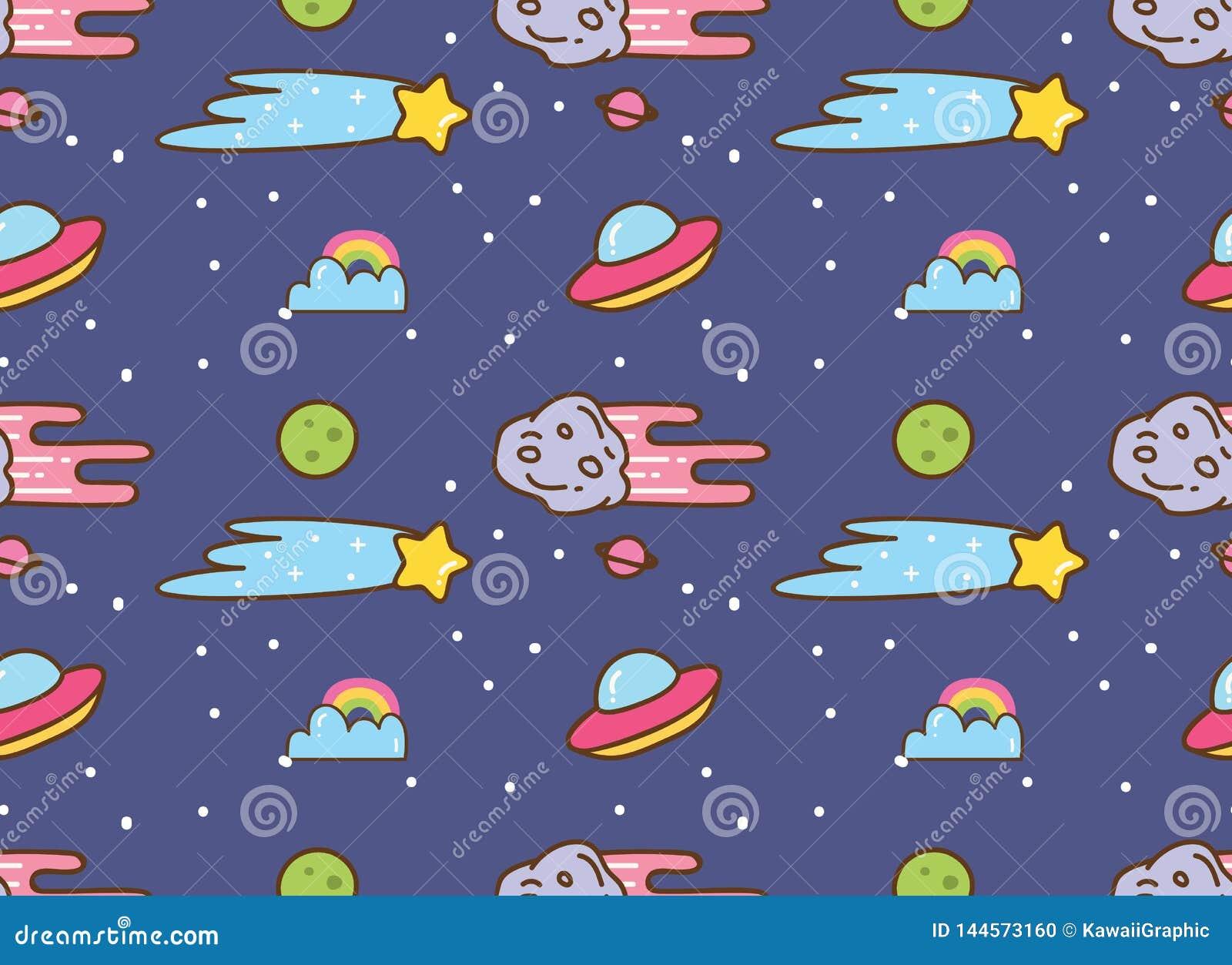 Ruimteachtergrond met ufo, ster en meteoor in de achtergrond van de kawaiistijl