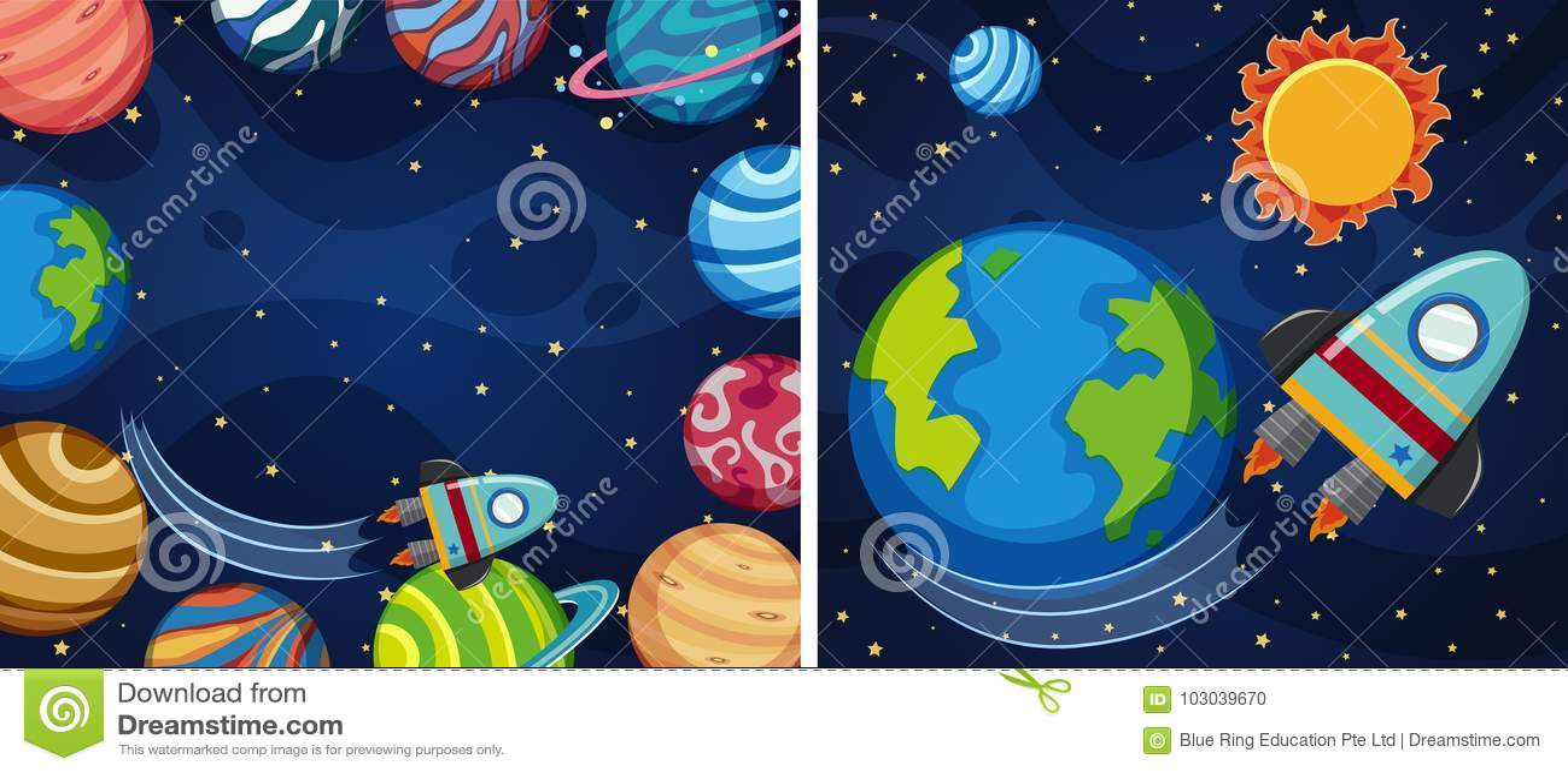Ruimteachtergrond twee met planeten en raket