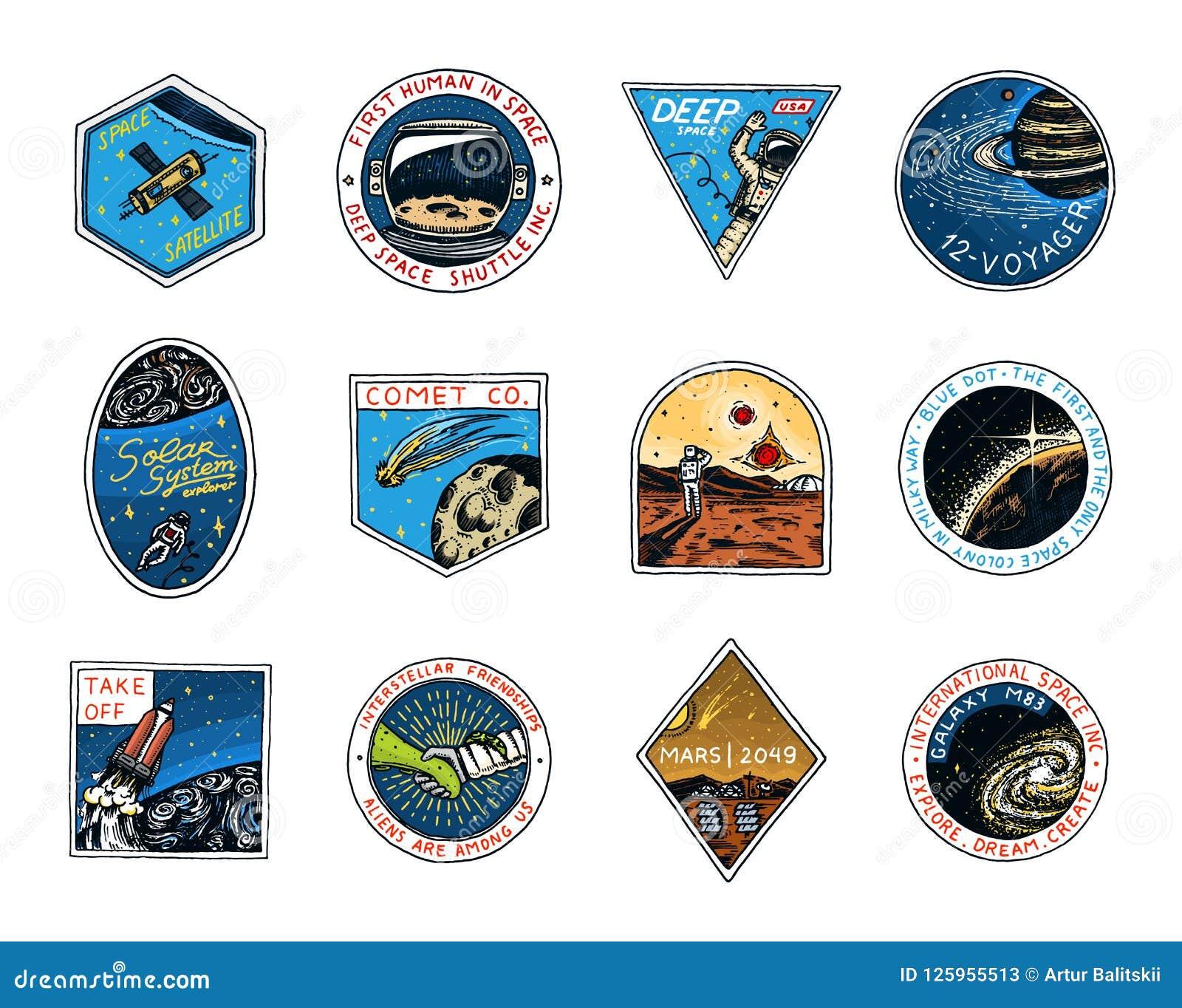 Ruimteembleem Exploratie van de astronomische melkweg Opdracht Mars Astronaut of ruimtevaardersavontuur Planeten en
