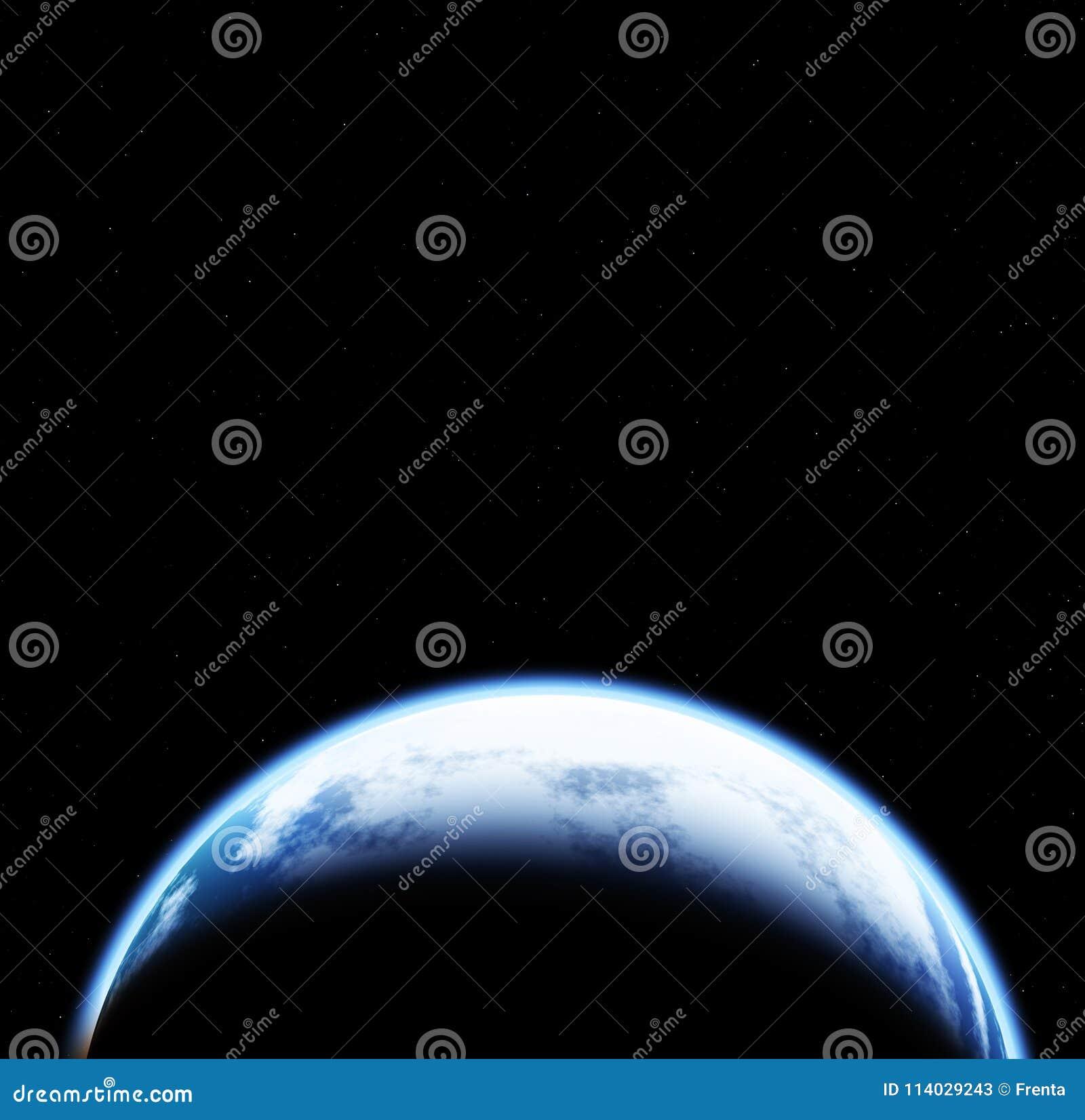 Ruimtescène met Aarde op zwarte achtergrond met sterren