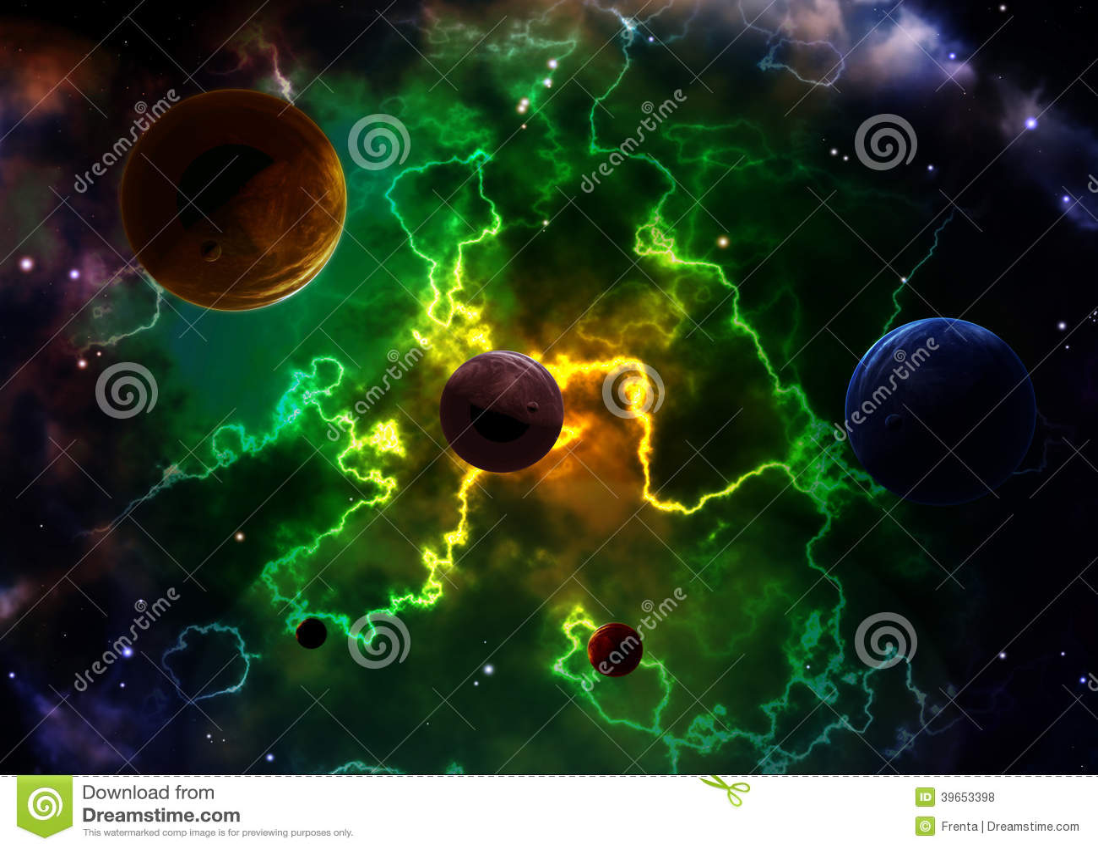 Ruimtescène met planeten en nevel