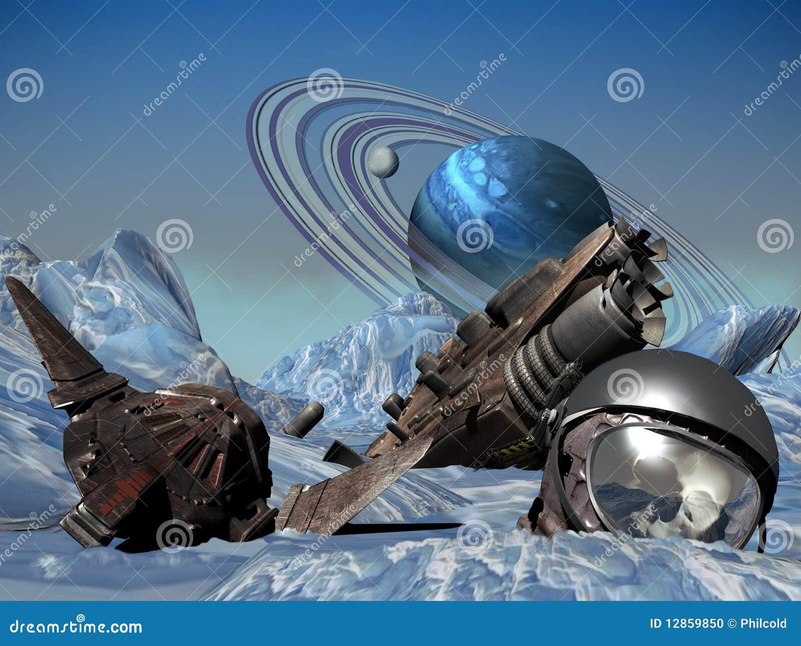 Ruimteschip dat op bevroren planeet wordt verpletterd