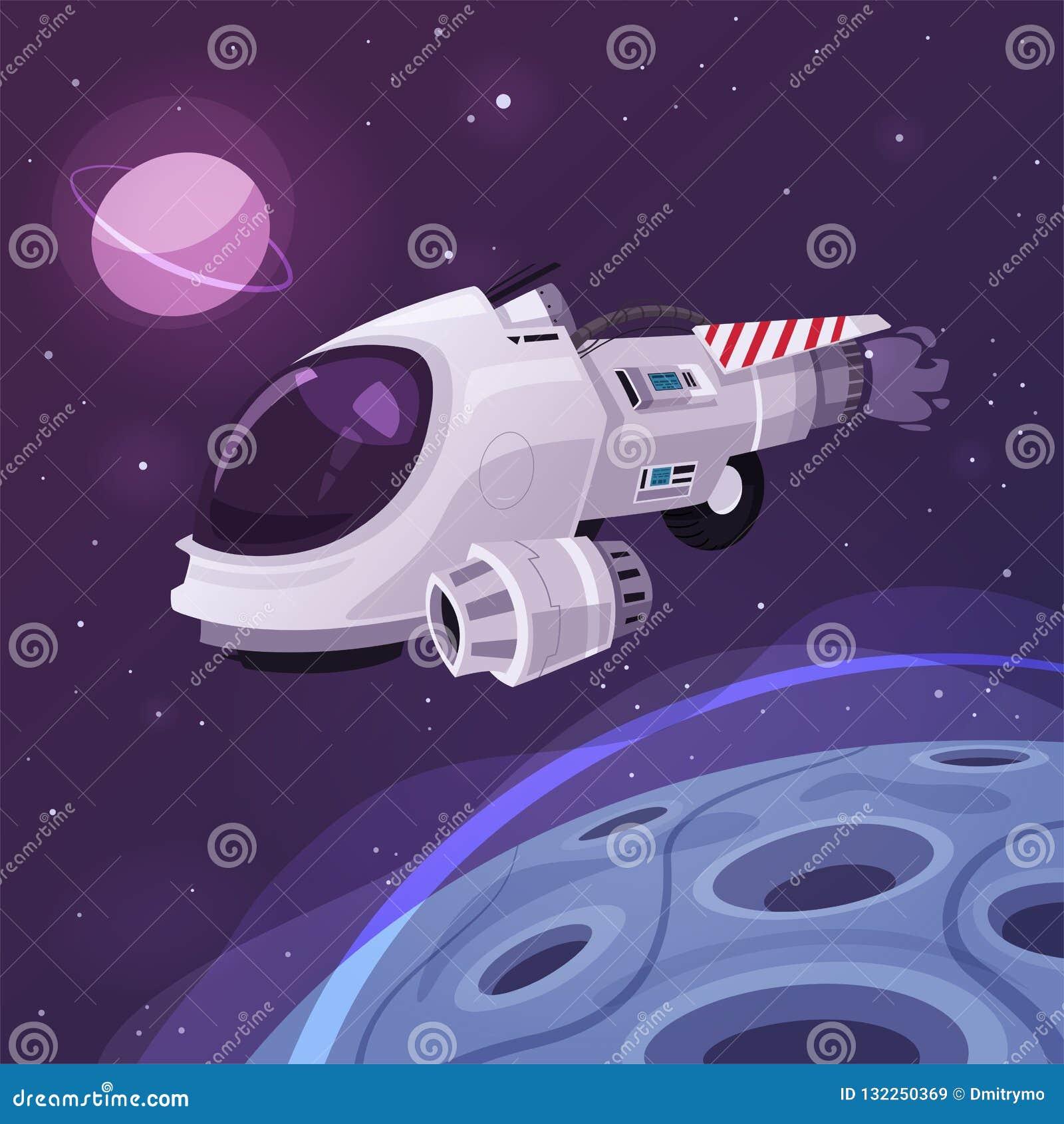 Ruimteschip in Kosmische ruimte De vectorillustratie van het beeldverhaal
