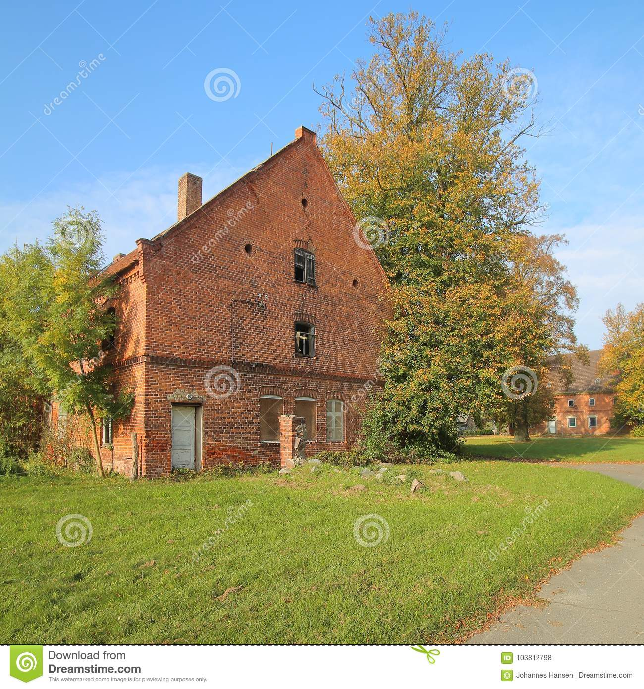 Ruin on historical manor grounds in Stilow, Mecklenburg-Vorpommern, Germany. The buildings are listed as monuments