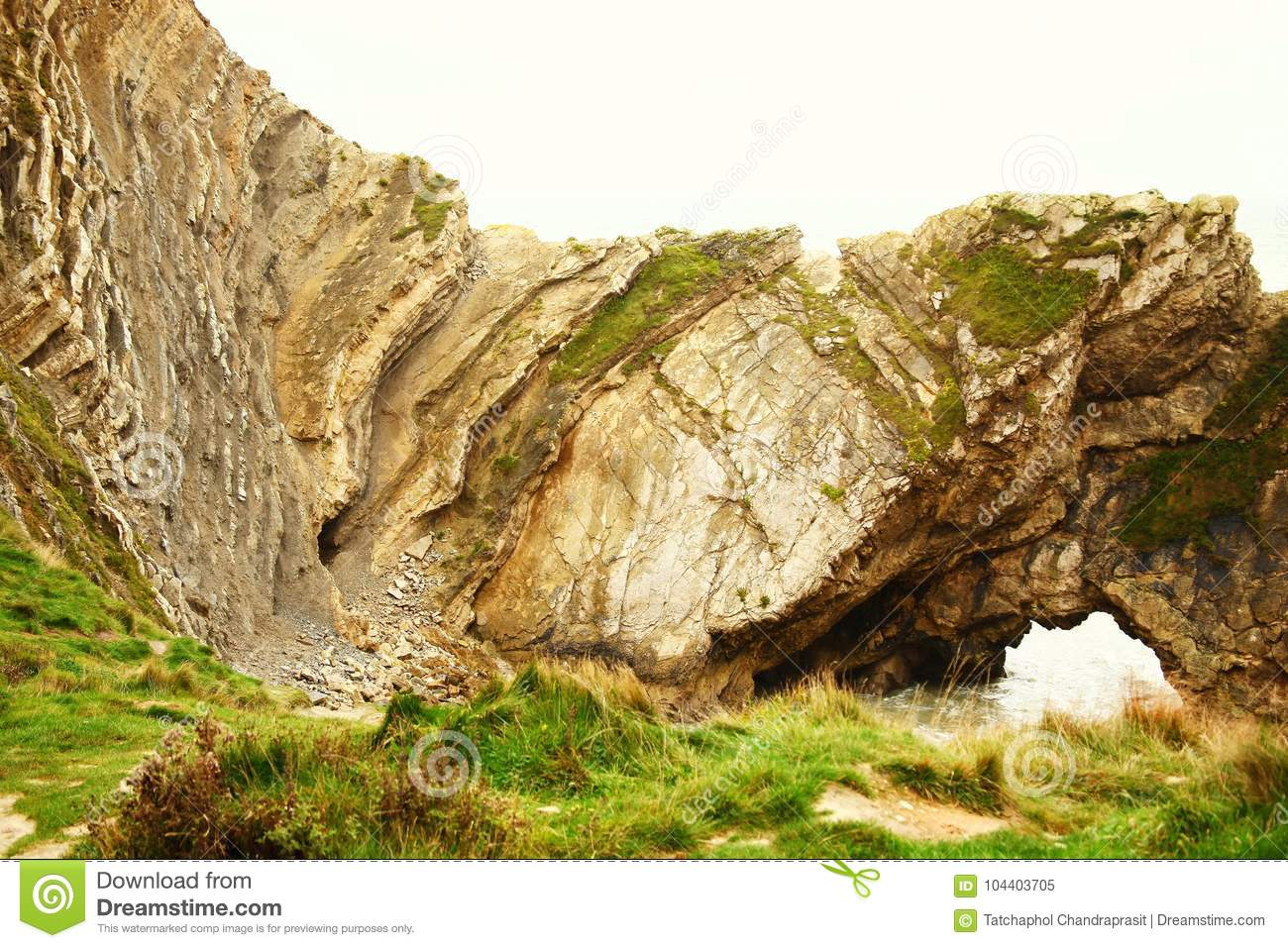 ruin and land slided of mountain scene stock image image of