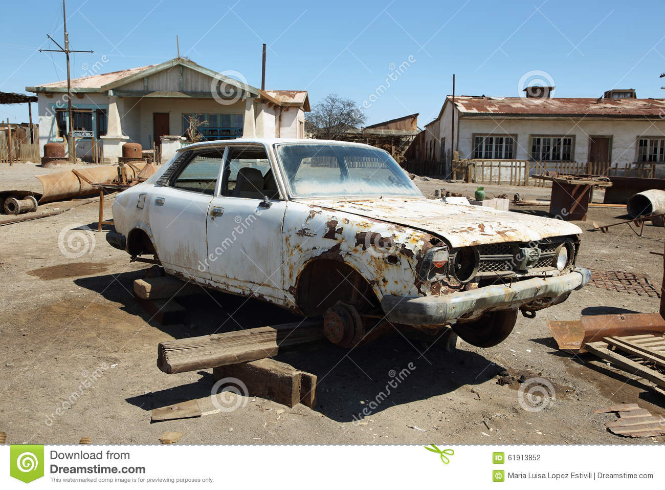 Ruin Of Old Car In Humberstone, Chile Stock Photo - Image of nitrate ...